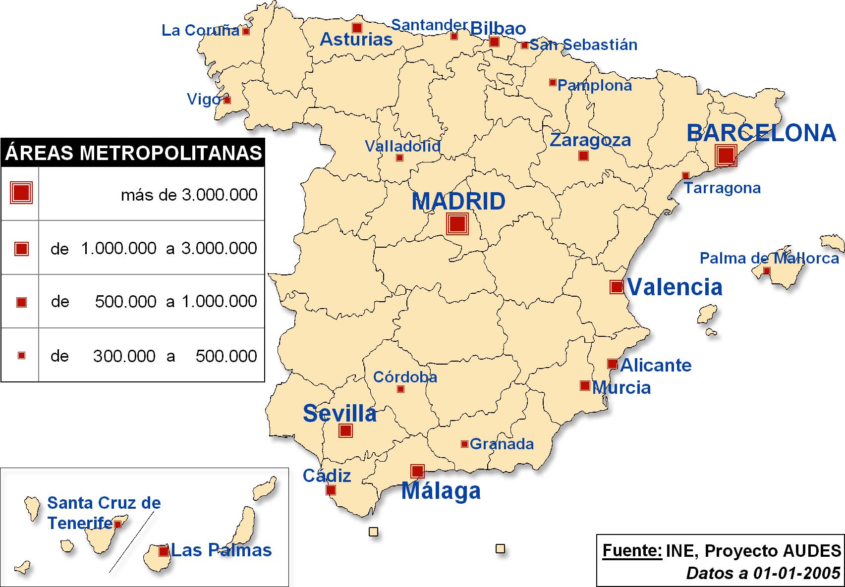 Principales áreas metropolitanas de España 2005