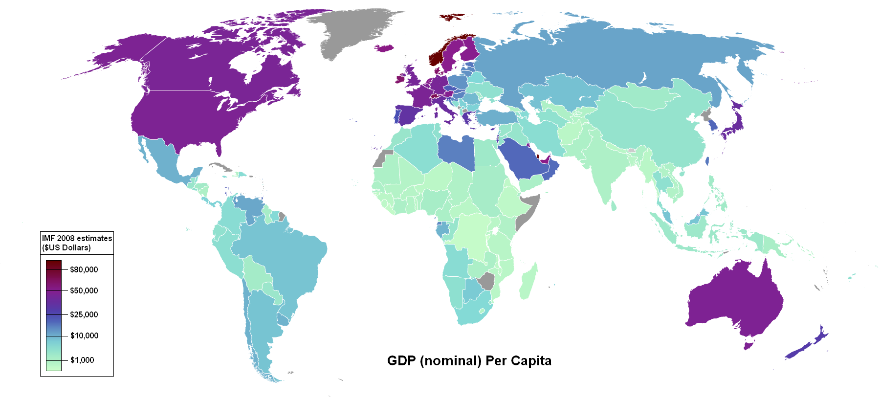 Countries by gross domestic product (GDP) per capita 2008