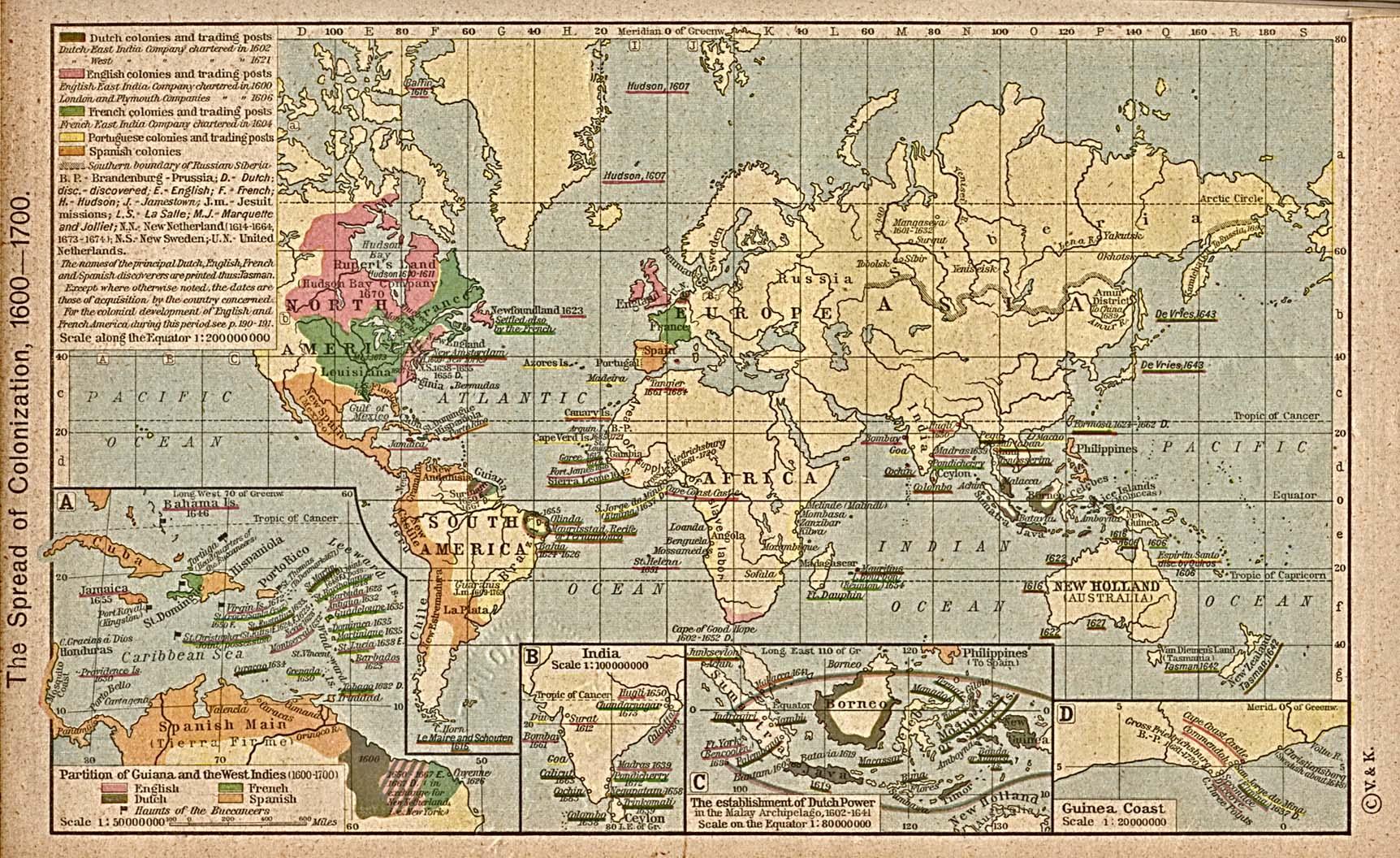 Progresión de la colonización en el Mundo 1600-1700