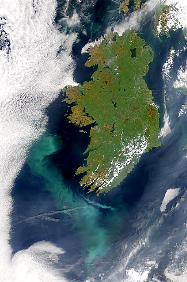 Proliferación de Coccolithus pelagicus al suroeste de Irlanda