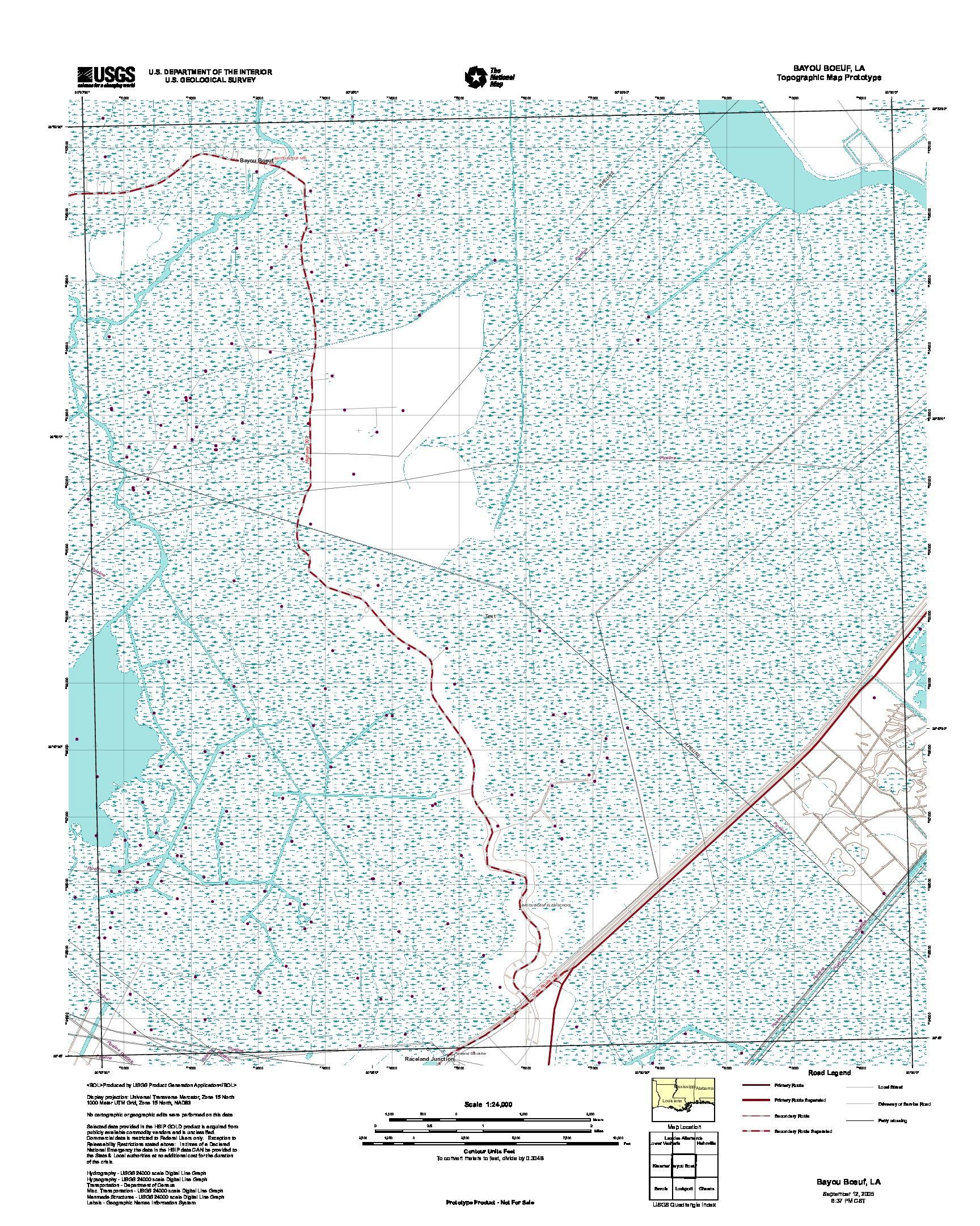 Prototipo de Mapa Topográfico de Bayou Boeuf, Luisiana, Estados Unidos, Septiembre 12, 2005