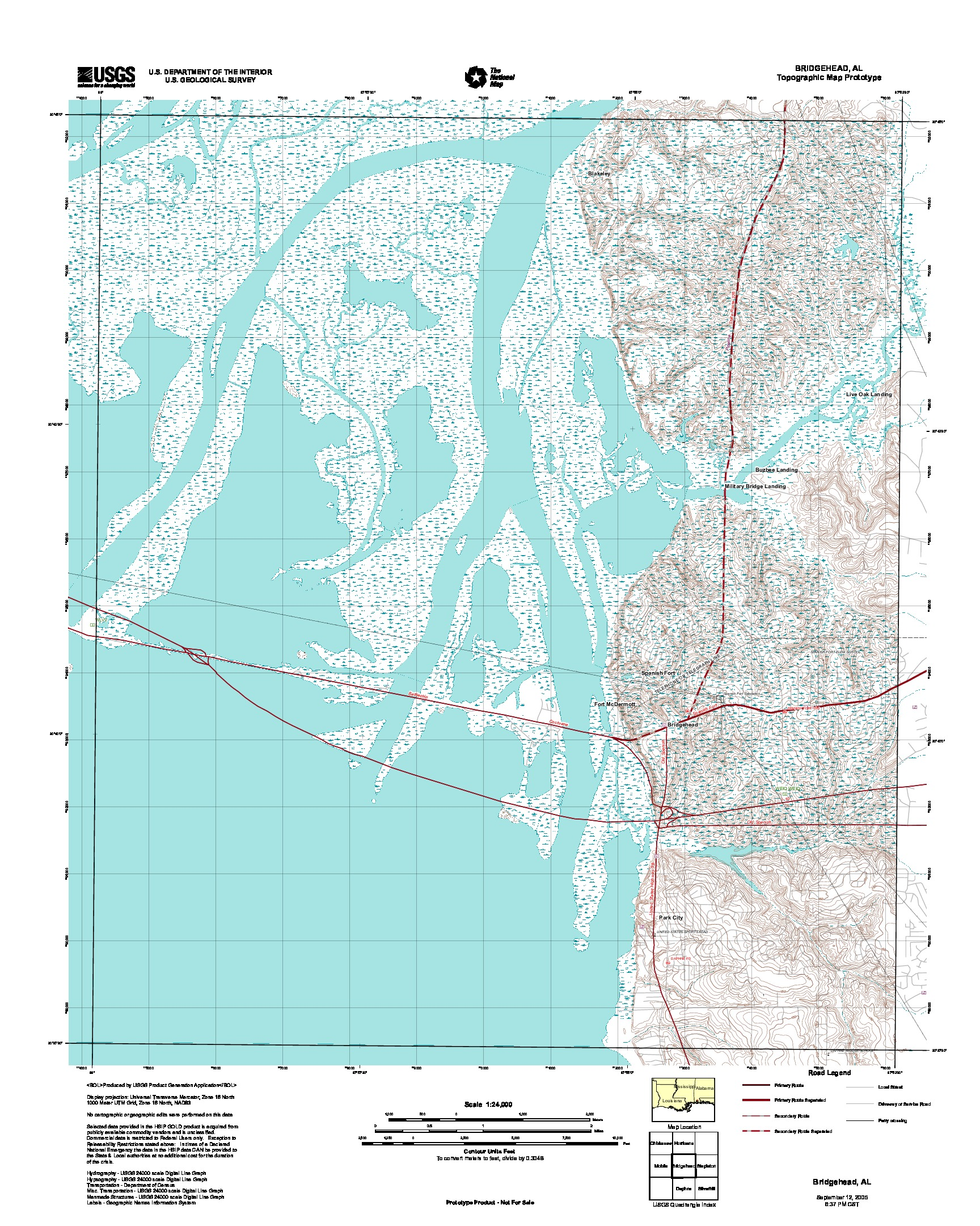 Prototipo de Mapa Topográfico de Bridgehead, Alabama, Estados Unidos, Septiembre 12, 2005