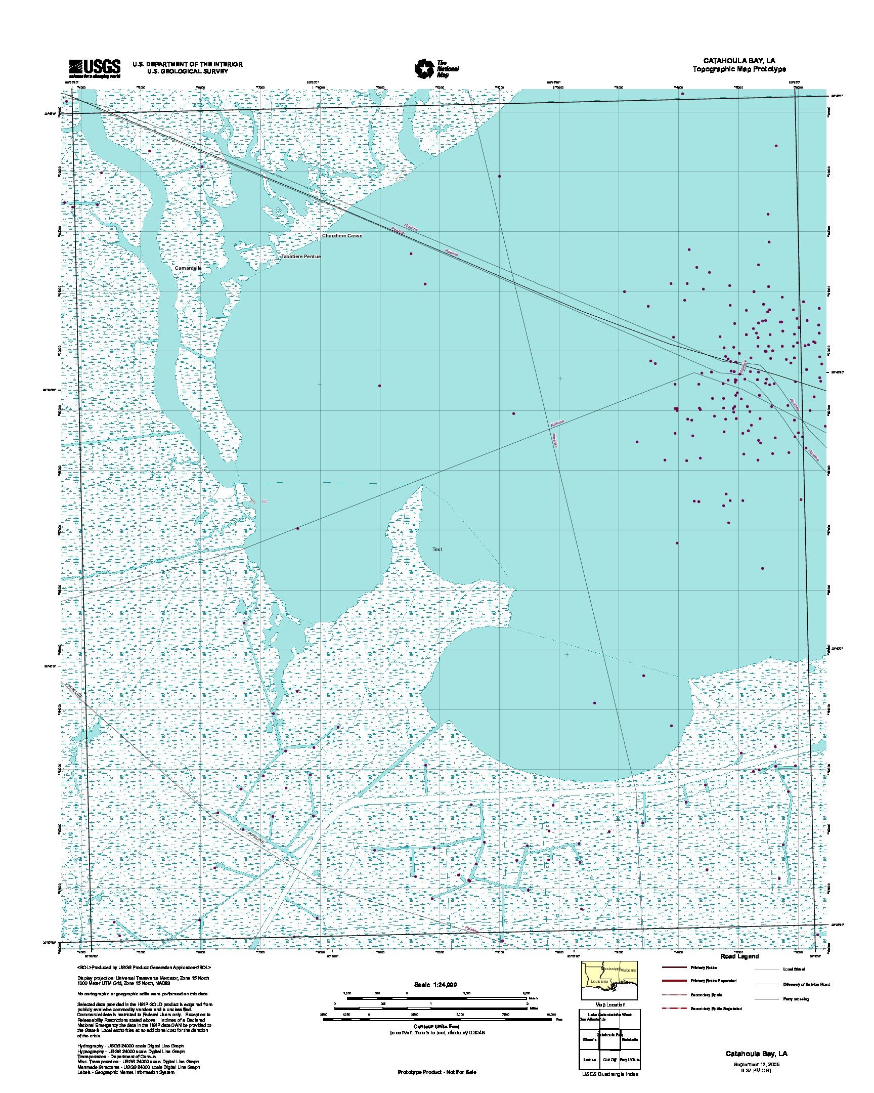 Prototipo de Mapa Topográfico de Catahoula Bay, Luisiana, Estados Unidos, Septiembre 12, 2005