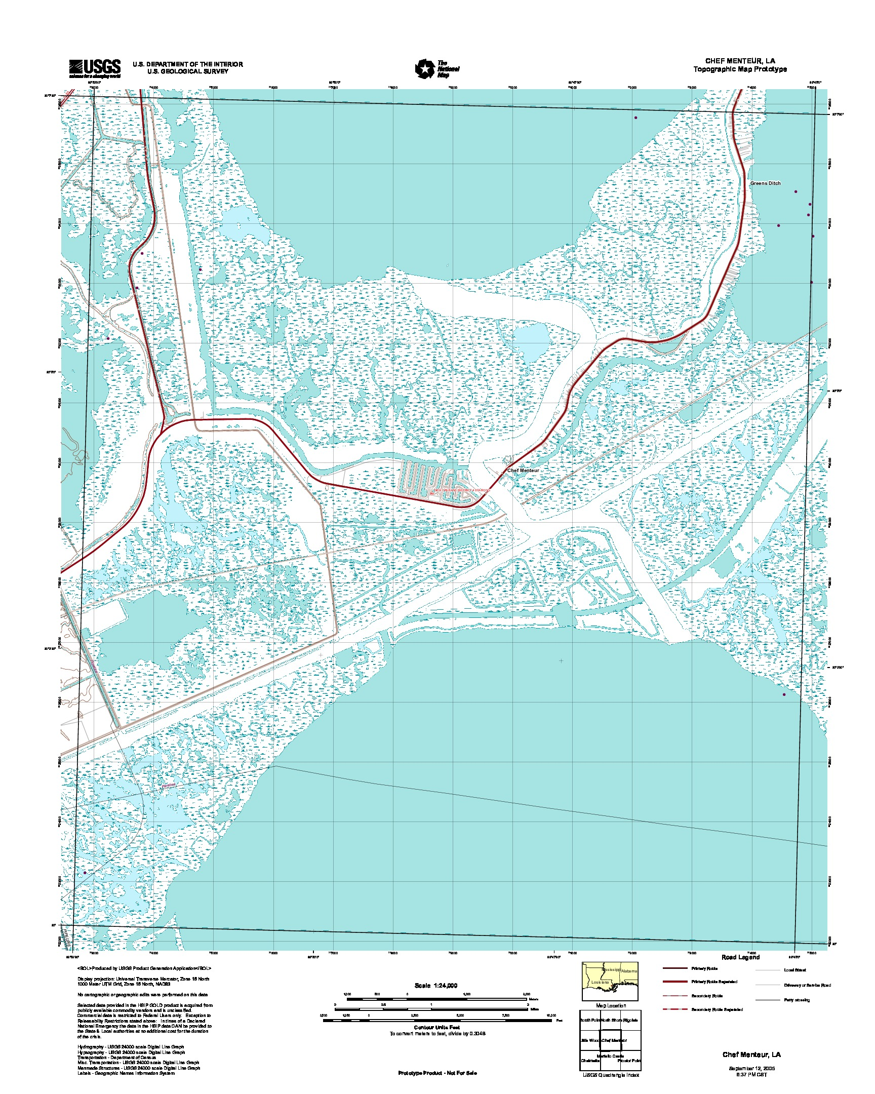 Chef Menteur, Topographic Map Prototype, Louisiana, United States, September 12, 2005