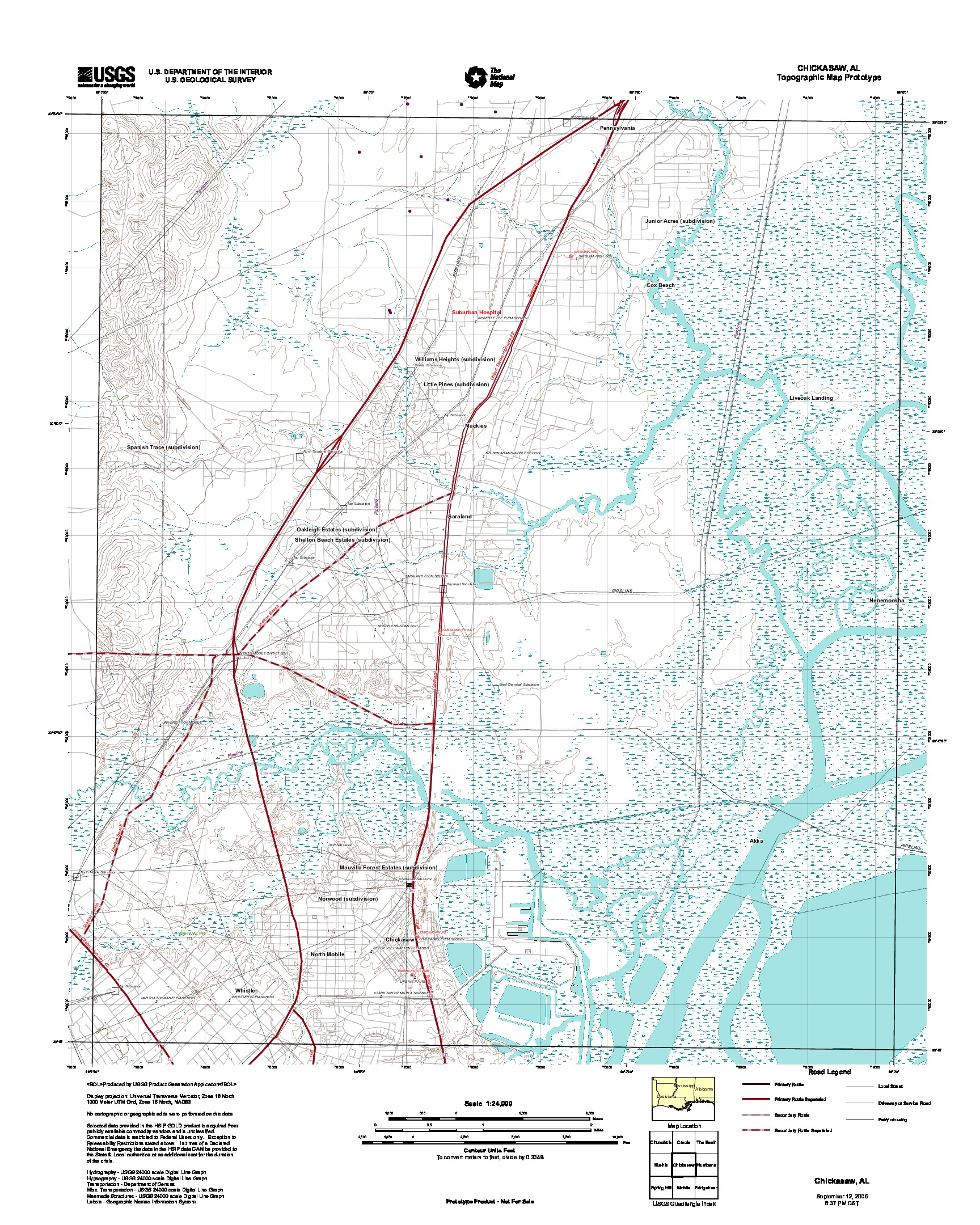 Chickasaw, Topographic Map Prototype, Alabama, United States, September 12, 2005