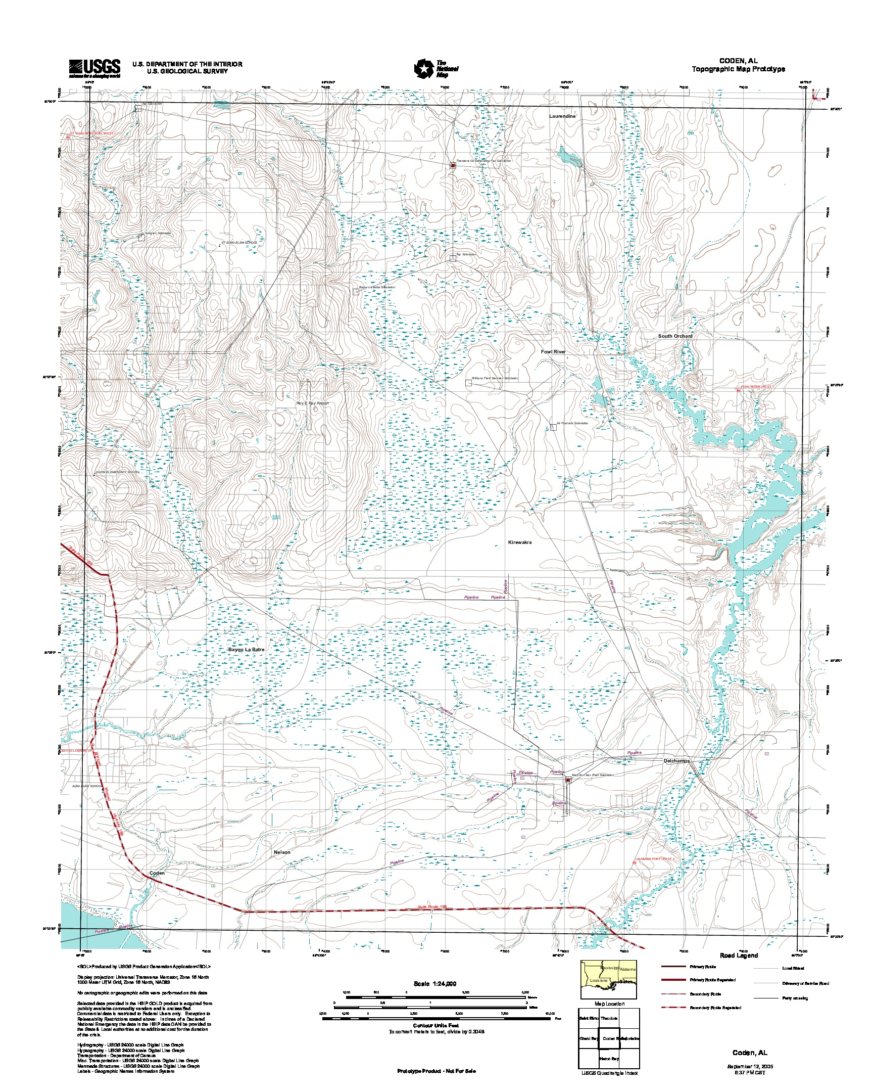 Prototipo de Mapa Topográfico de Coden, Alabama, Estados Unidos, Septiembre 12, 2005