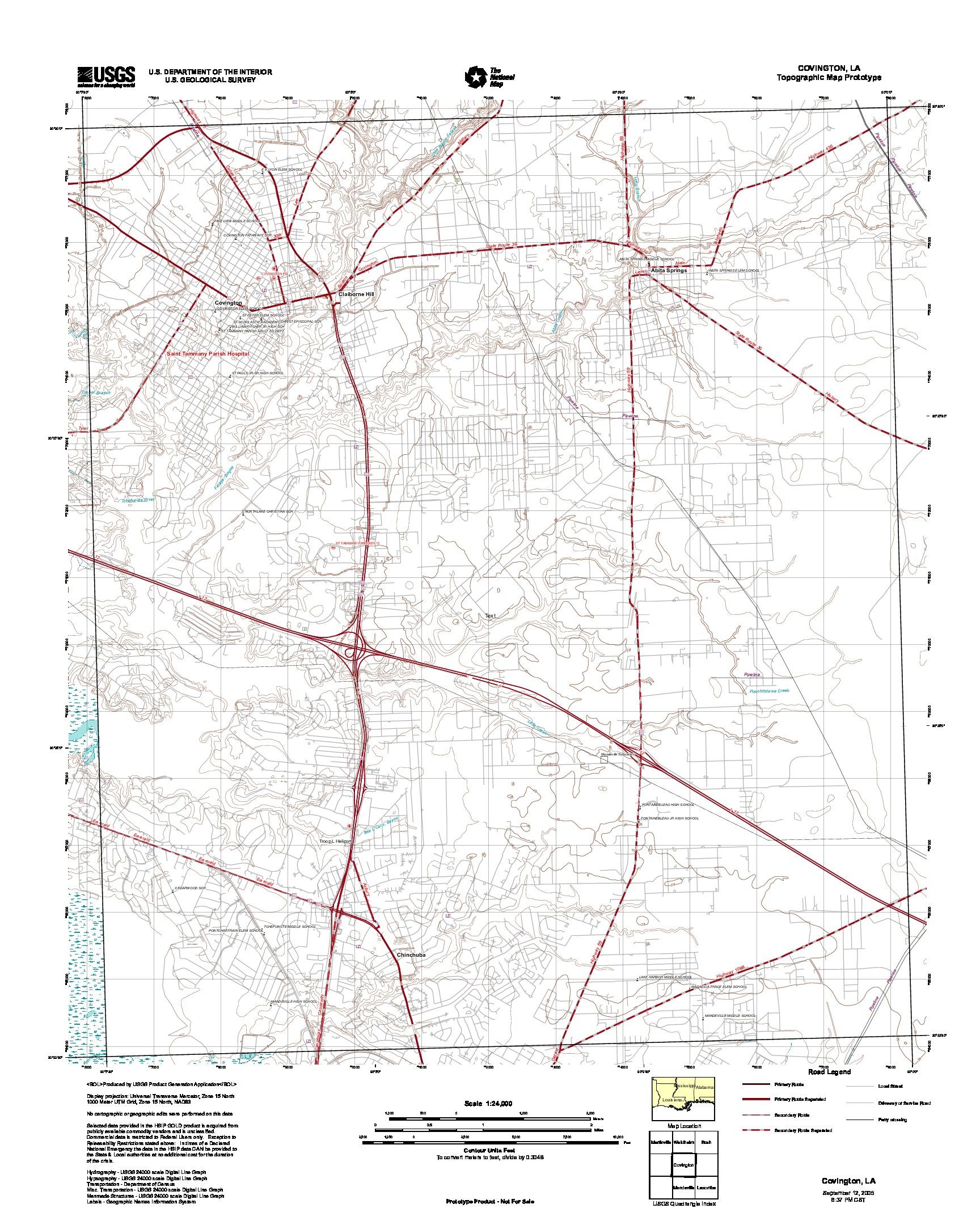 Prototipo de Mapa Topográfico de Covington, Luisiana, Estados Unidos, Septiembre 12, 2005