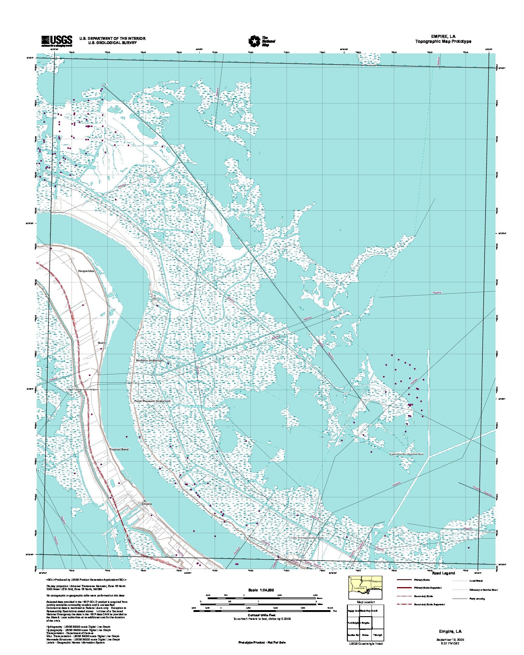 Prototipo de Mapa Topográfico de Empire, Luisiana, Estados Unidos, Septiembre 12, 2005