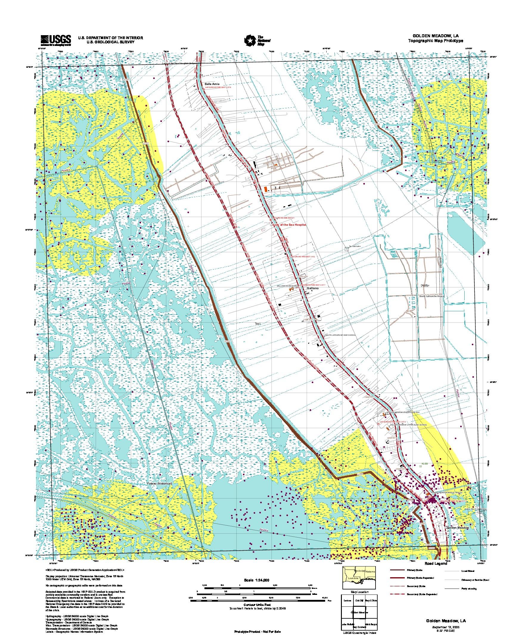 Prototipo de Mapa Topográfico de Golden Meadow, Luisiana, Estados Unidos, Septiembre 12, 2005