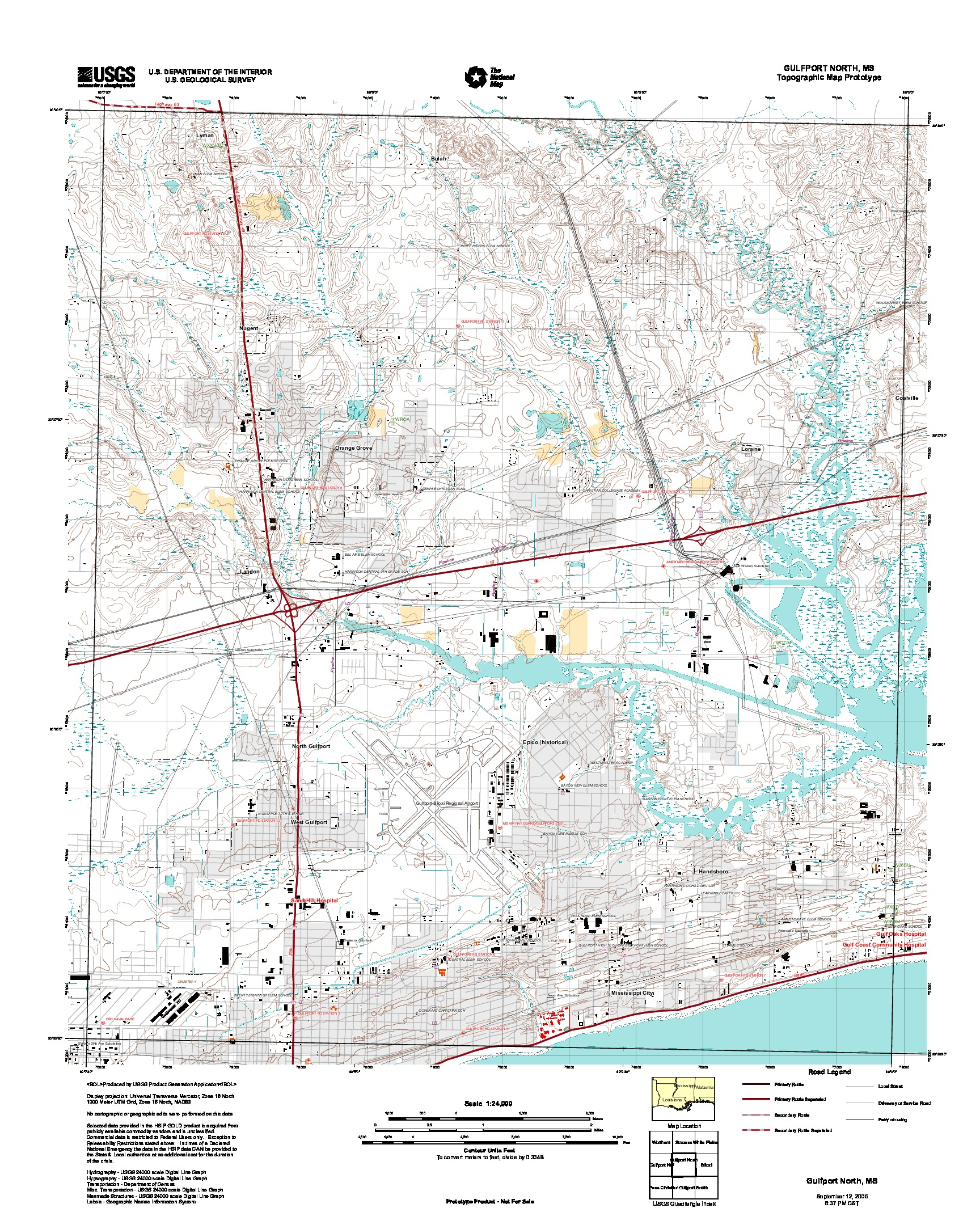 Gulfport North, Topographic Map Prototype, Mississippi, United States, September 12, 2005