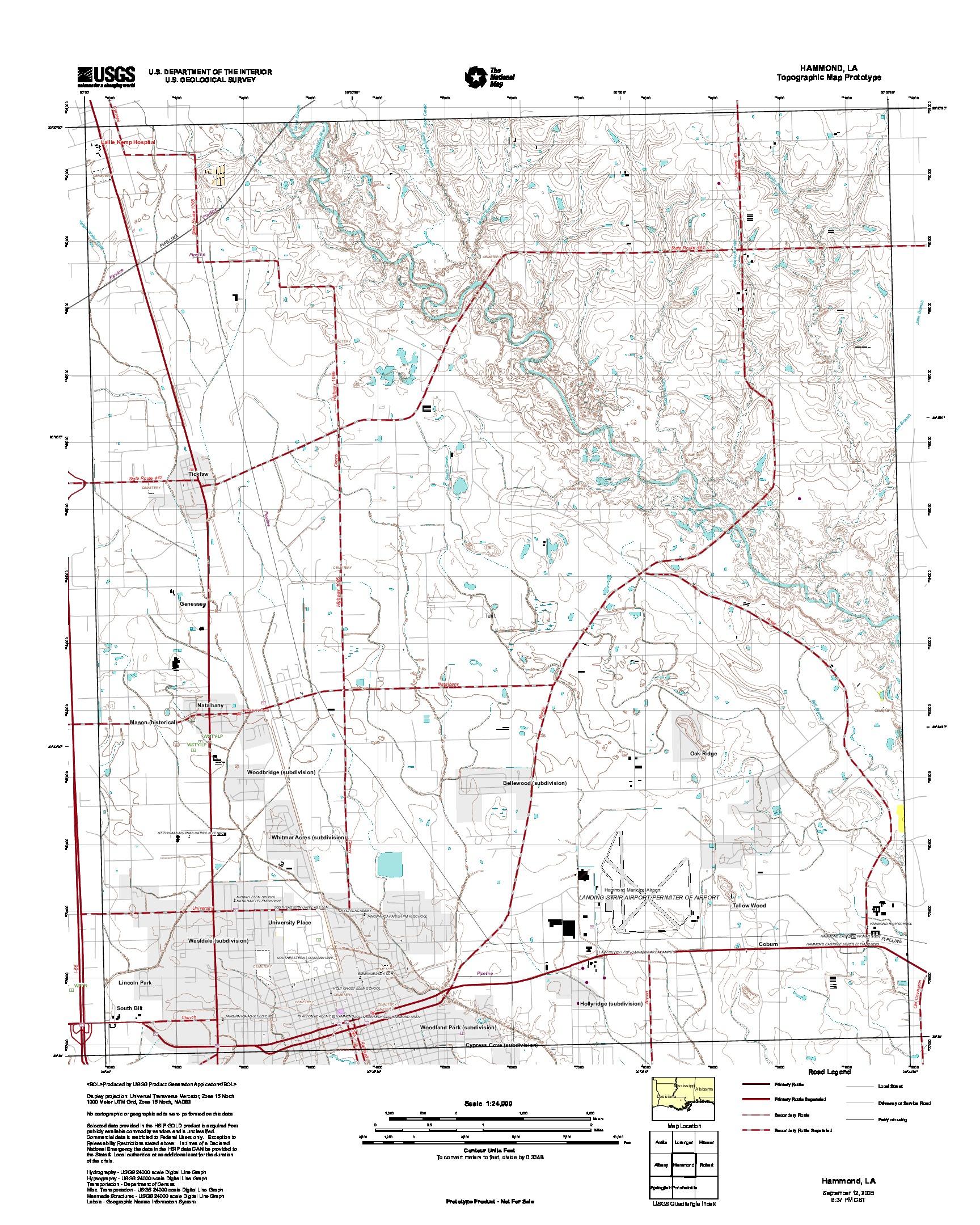 Prototipo de Mapa Topográfico de Hammond, Luisiana, Estados Unidos, Septiembre 12, 2005