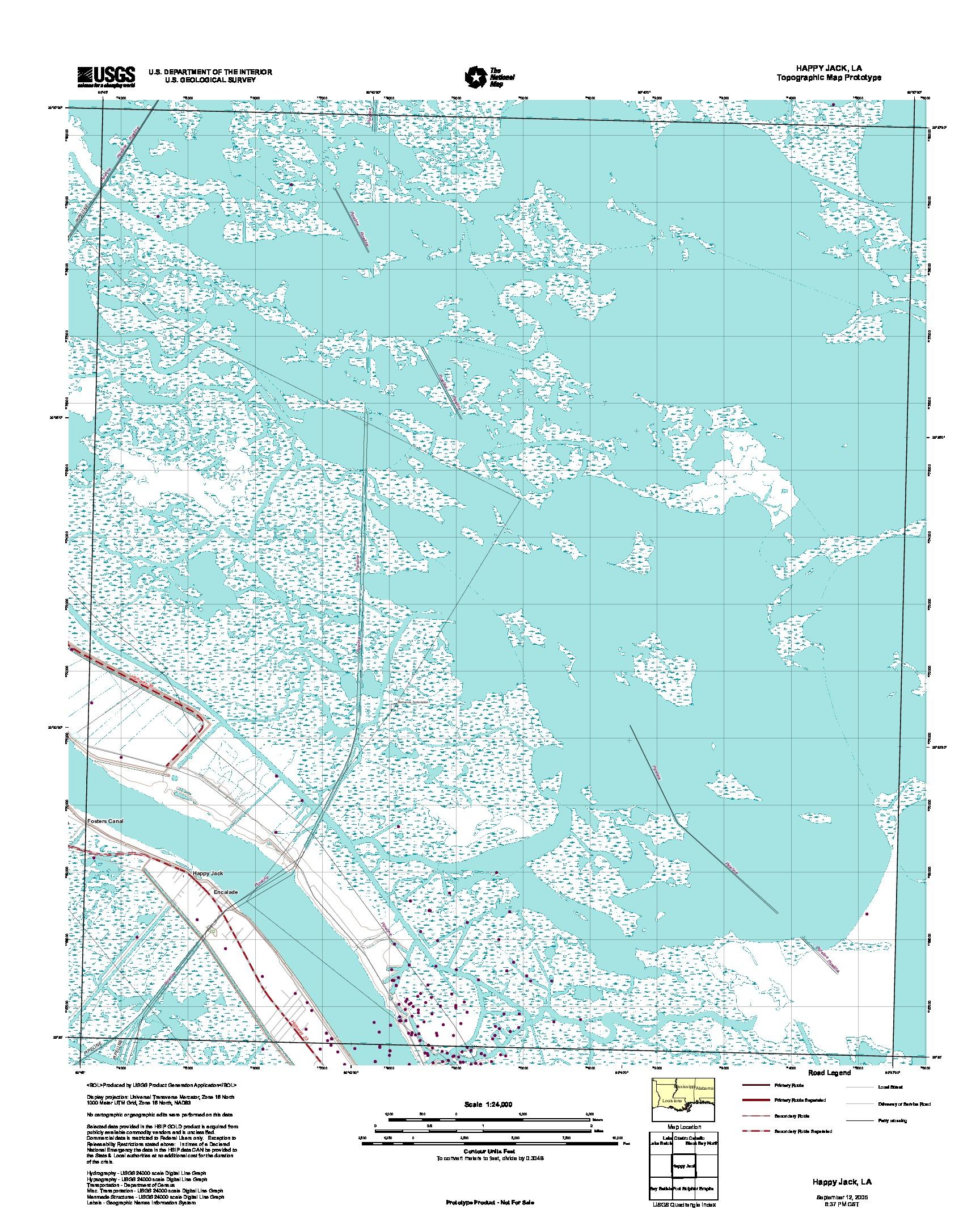 Prototipo de Mapa Topográfico de Happy Jack, Luisiana, Estados Unidos, Septiembre 12, 2005