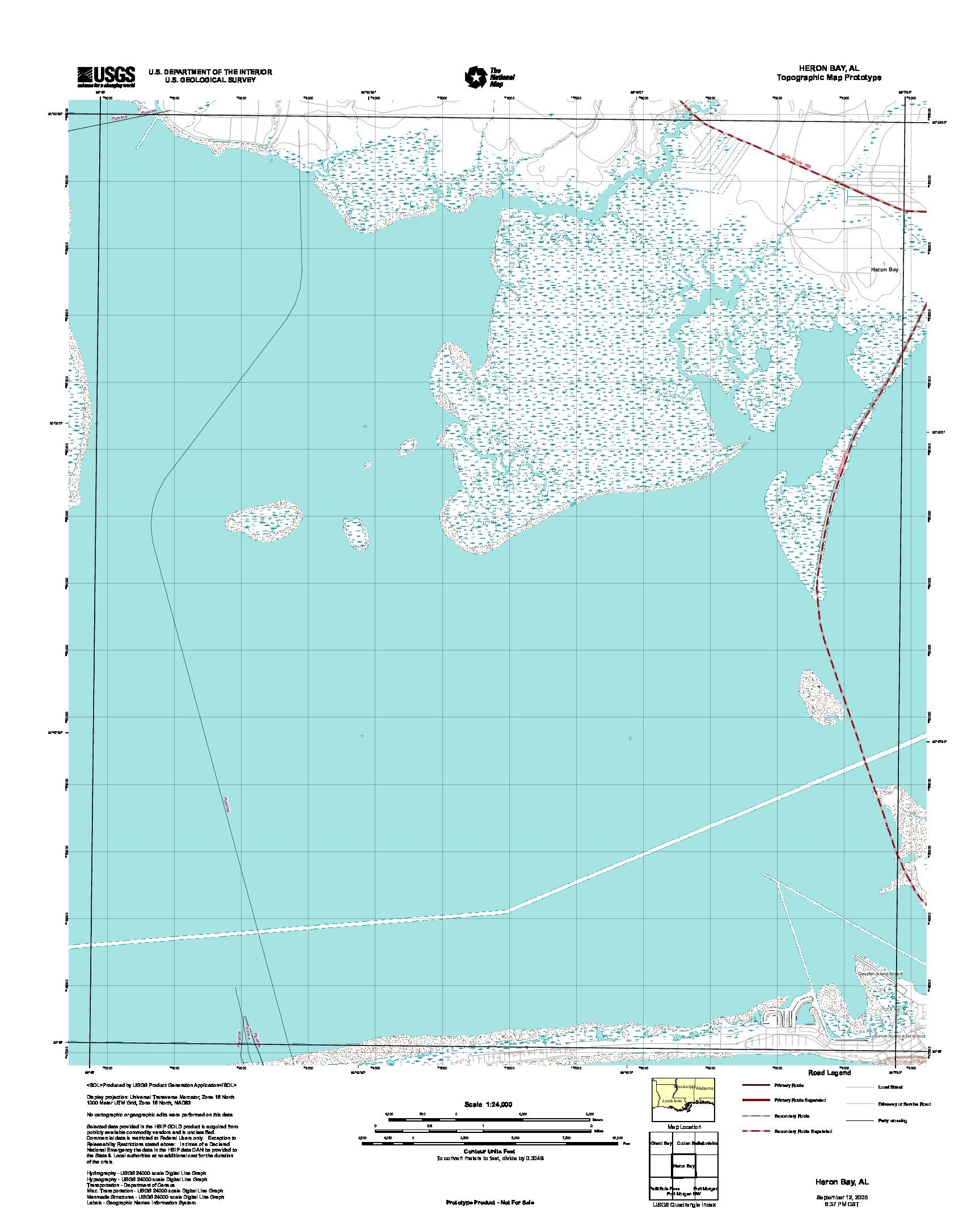 Prototipo de Mapa Topográfico de Heron Bay, Alabama, Estados Unidos, Septiembre 12, 2005