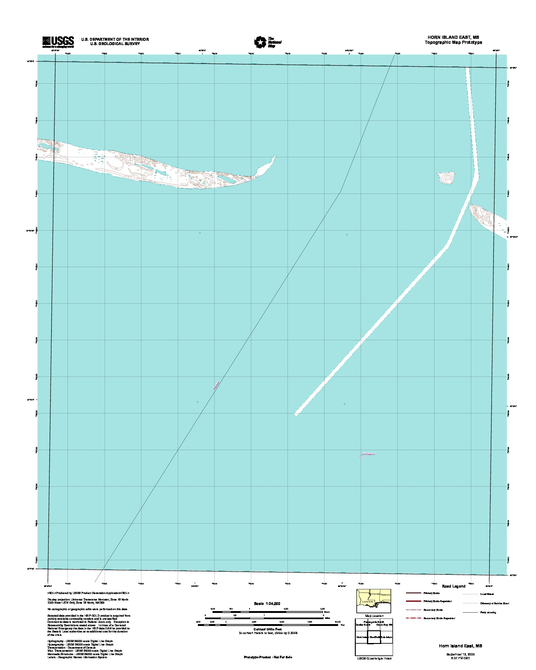 Horn Island East, Topographic Map Prototype, Mississippi, United States, September 12, 2005