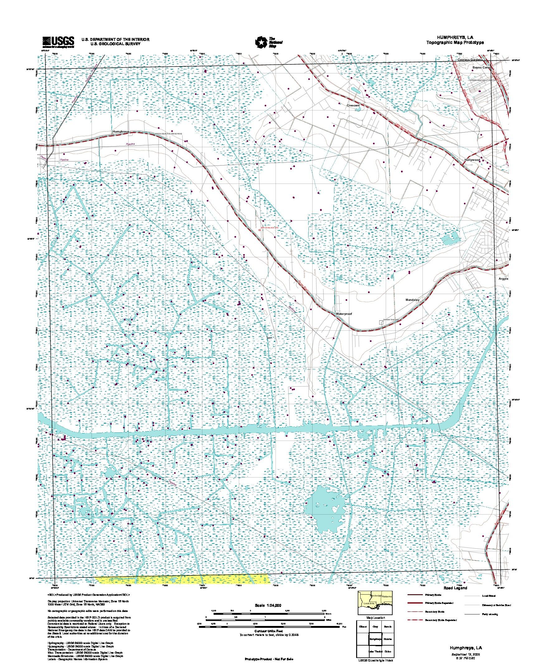 Prototipo de Mapa Topográfico de Humphreys, Luisiana, Estados Unidos, Septiembre 12, 2005