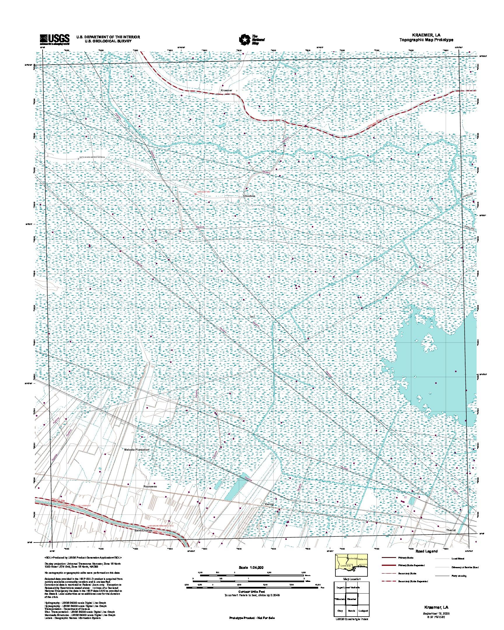 Prototipo de Mapa Topográfico de Kraemer, Luisiana, Estados Unidos, Septiembre 12, 2005