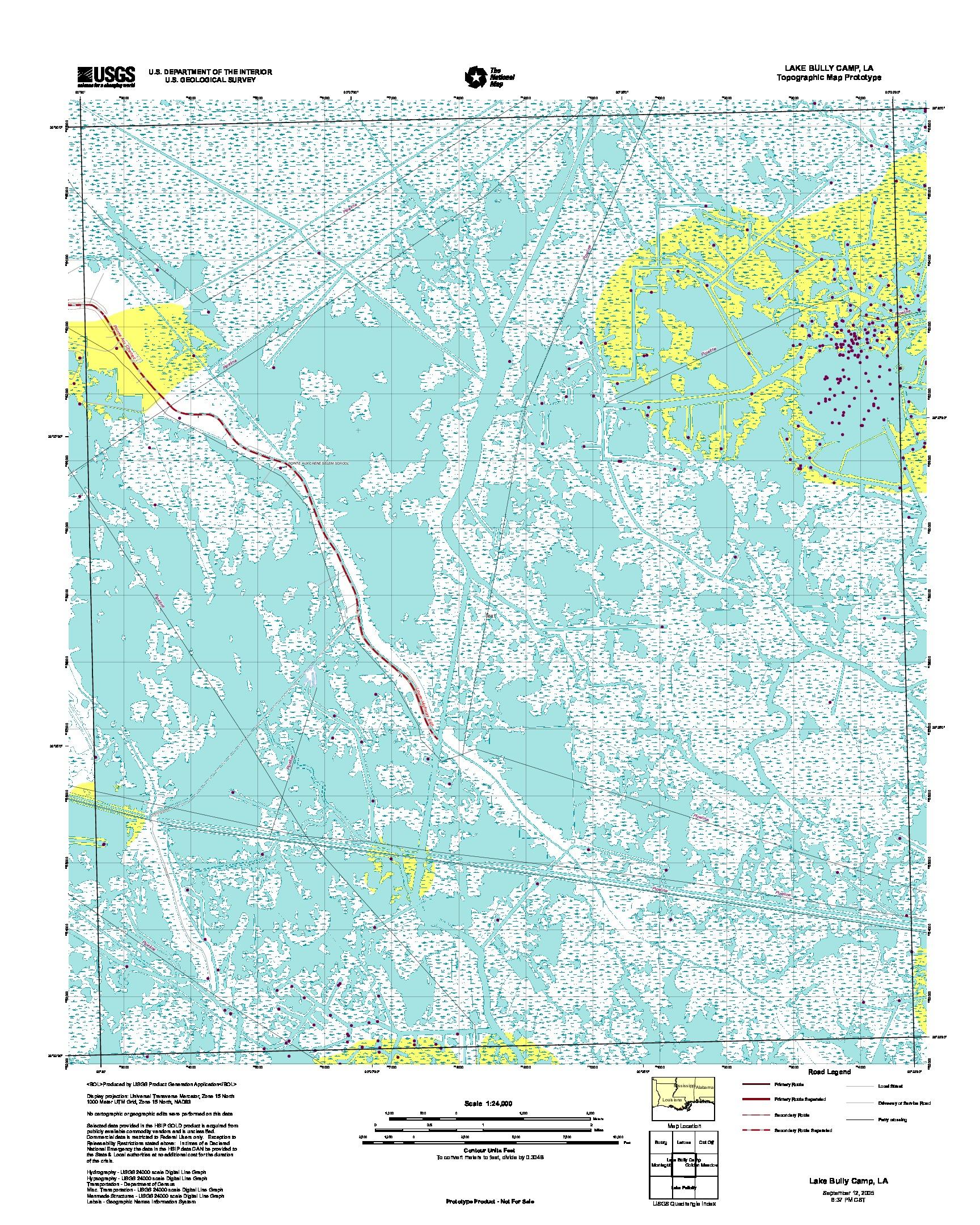 Prototipo de Mapa Topográfico de Lake Bully Camp, Luisiana, Estados Unidos, Septiembre 12, 2005