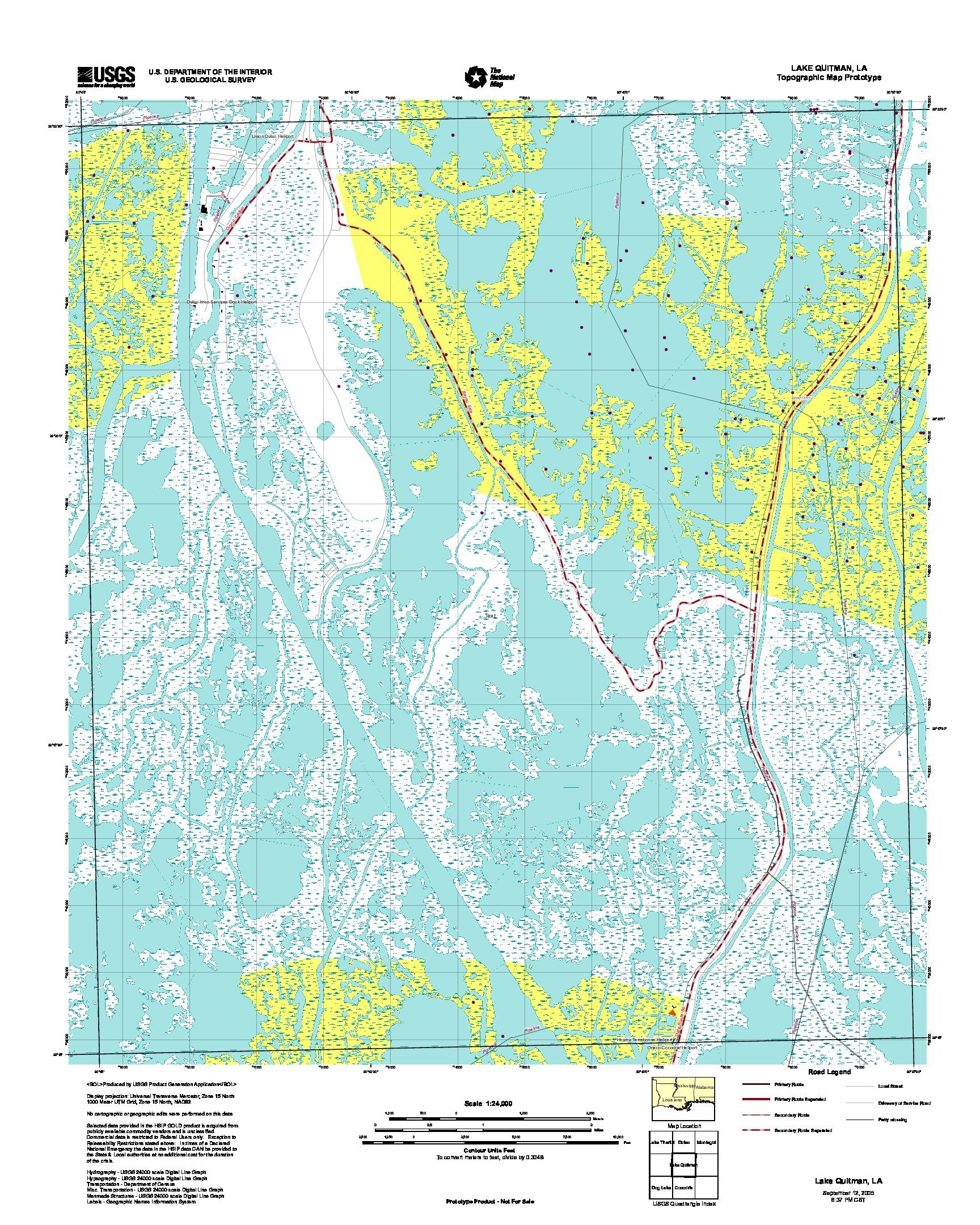 Prototipo de Mapa Topográfico de Lake Quitman, Luisiana, Estados Unidos, Septiembre 12, 2005