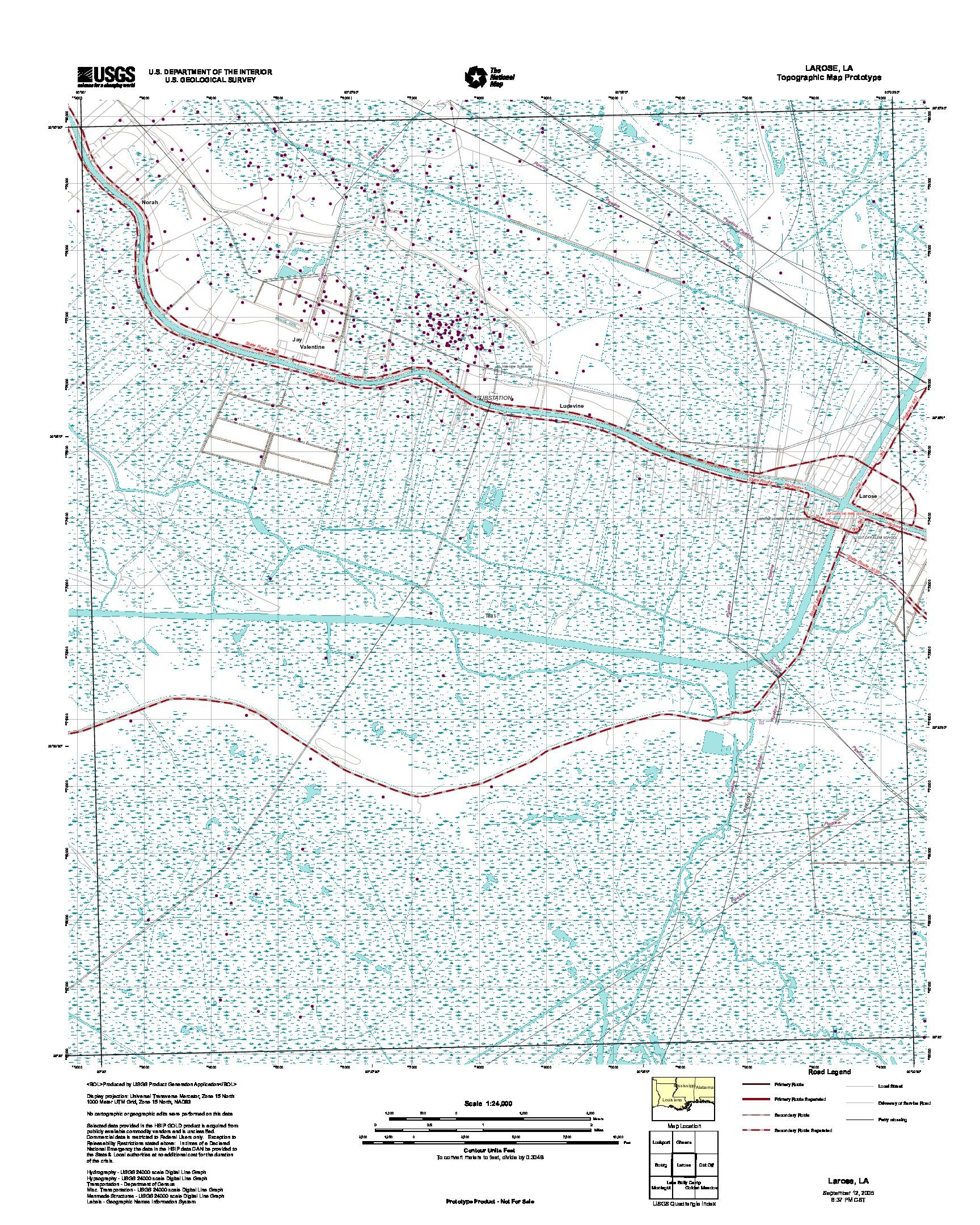 Prototipo de Mapa Topográfico de Larose, Luisiana, Estados Unidos, Septiembre 12, 2005