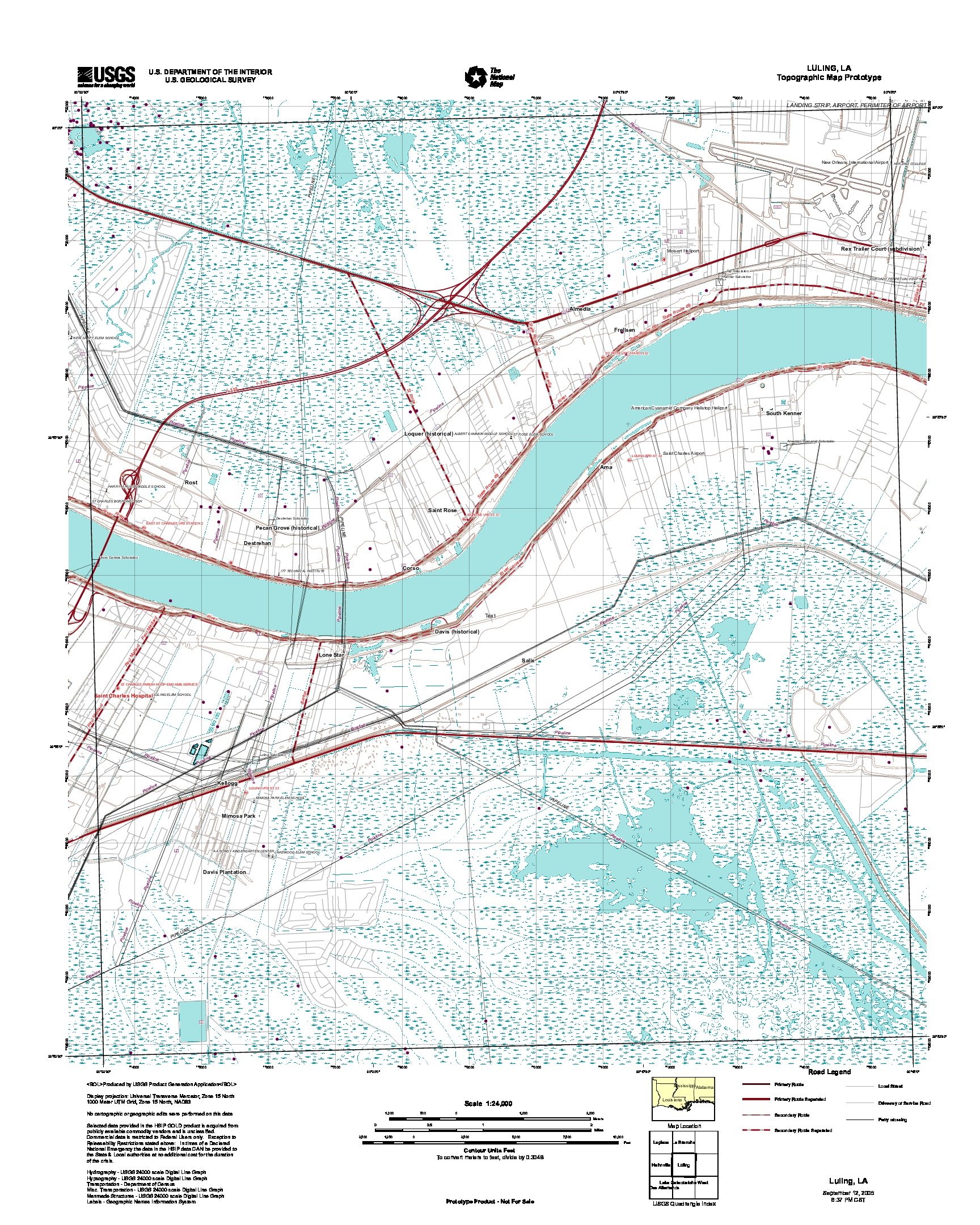 Luling, Topographic Map Prototype, Louisiana, United States, September 12, 2005