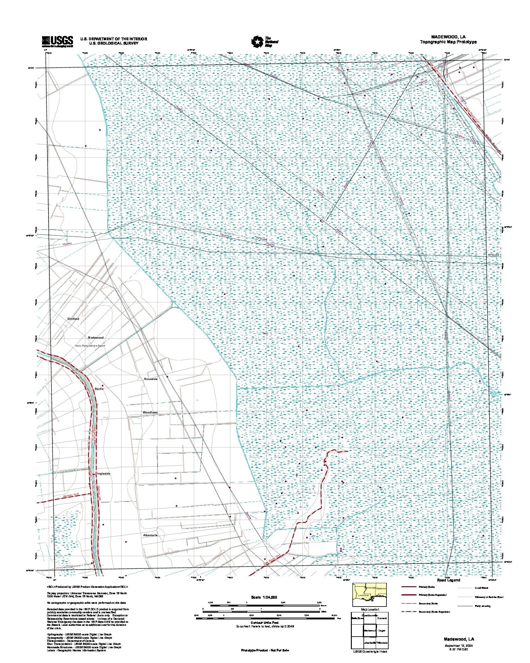 Prototipo de Mapa Topográfico de Madewood, Luisiana, Estados Unidos, Septiembre 12, 2005