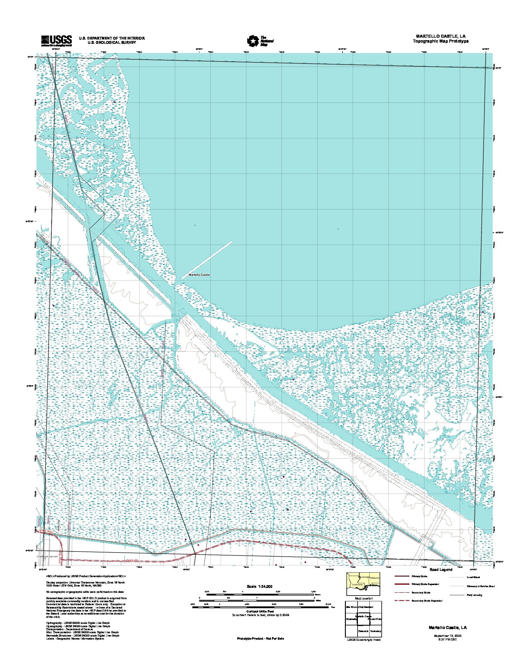 Prototipo de Mapa Topográfico de Martello Castillo, Luisiana, Estados Unidos, Septiembre 12, 2005