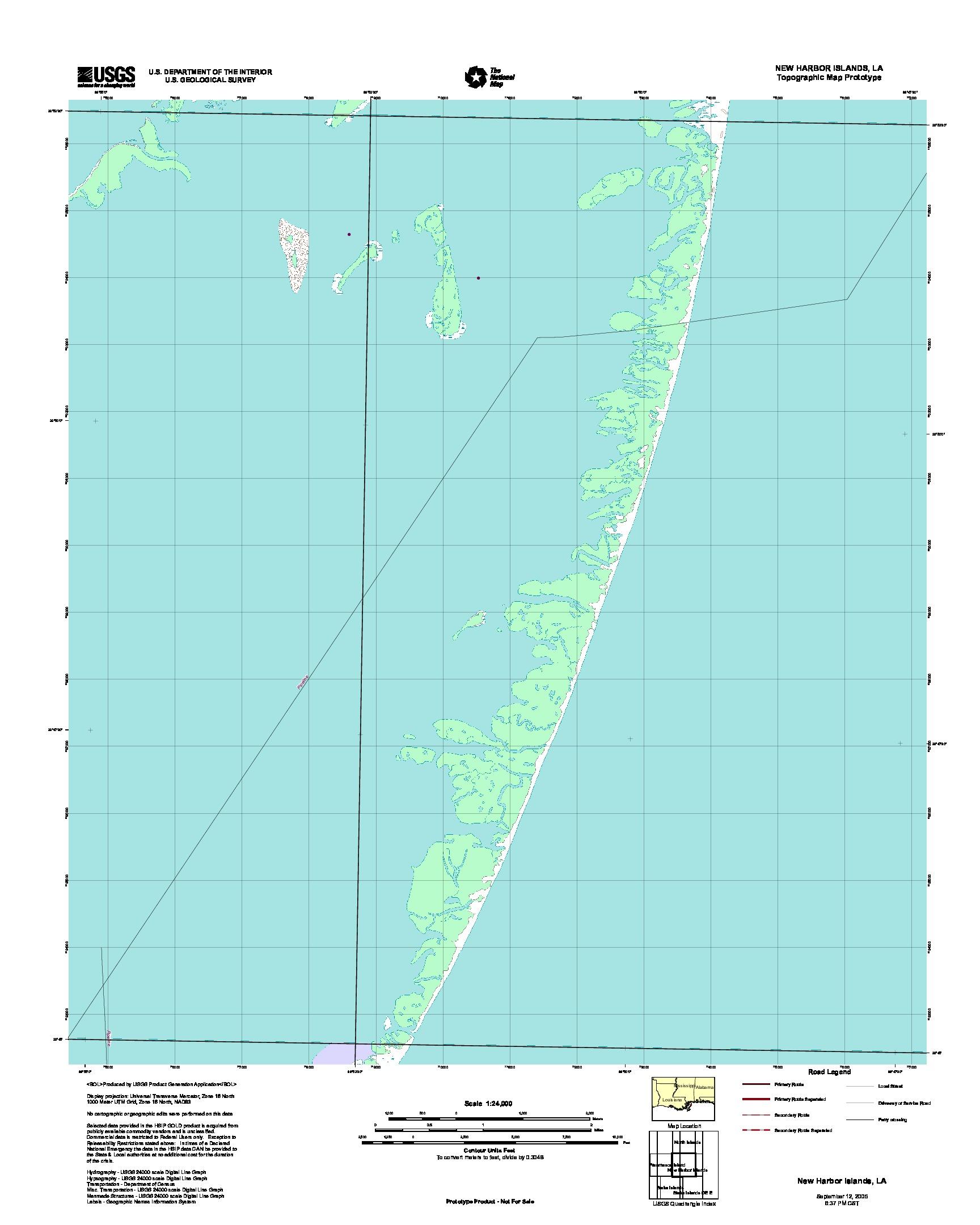 Prototipo de Mapa Topográfico de New Puerto Islands, Luisiana, Estados Unidos, Septiembre 12, 2005
