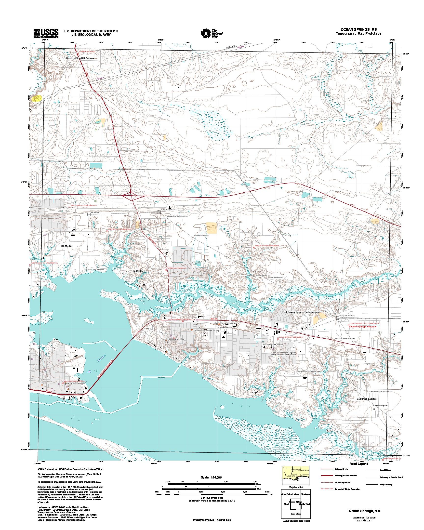 Prototipo de Mapa Topográfico de Ocean Springs, Misisipi, Estados Unidos, Septiembre 12, 2005