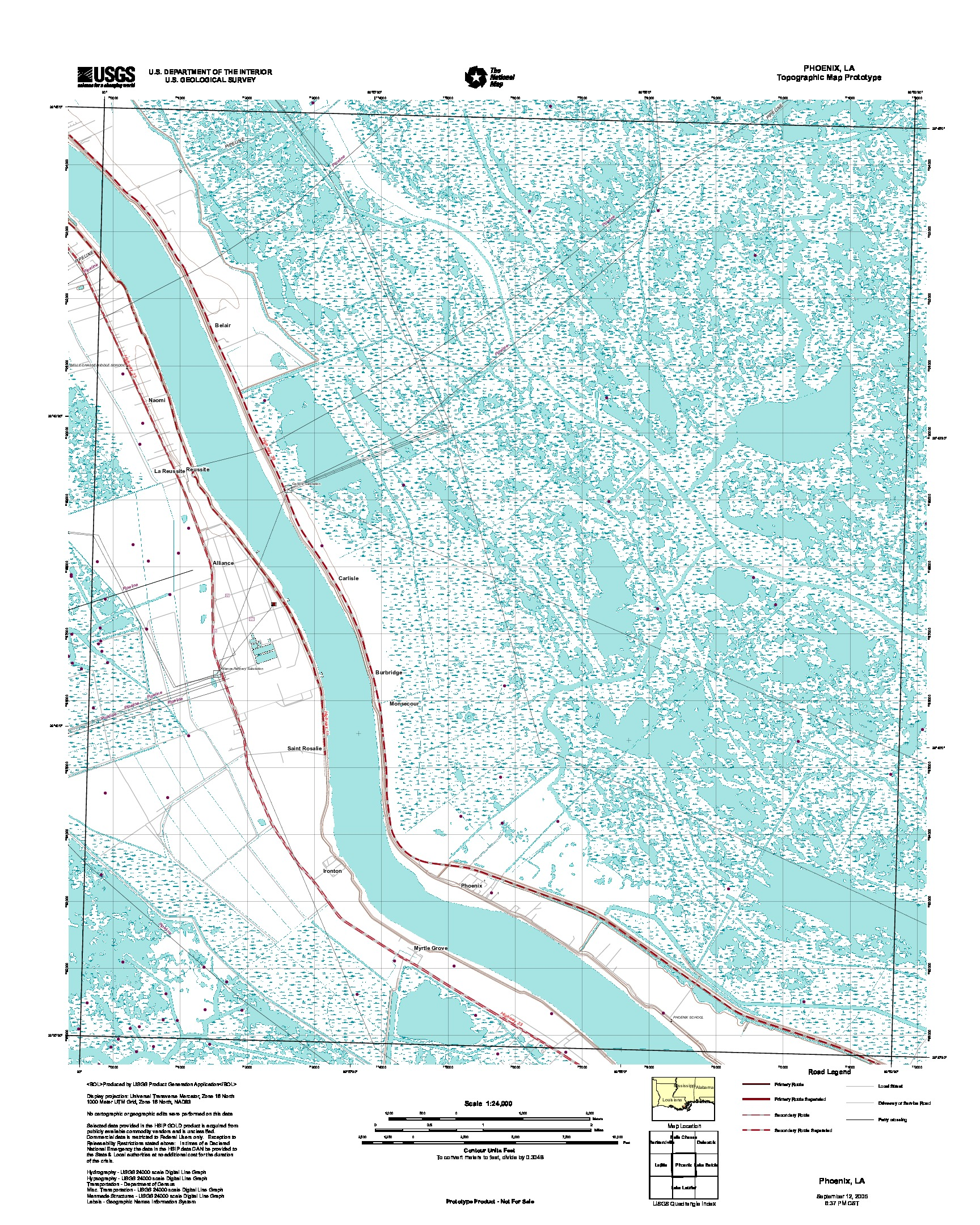 Prototipo de Mapa Topográfico de Phoenix, Luisiana, Estados Unidos, Septiembre 12, 2005