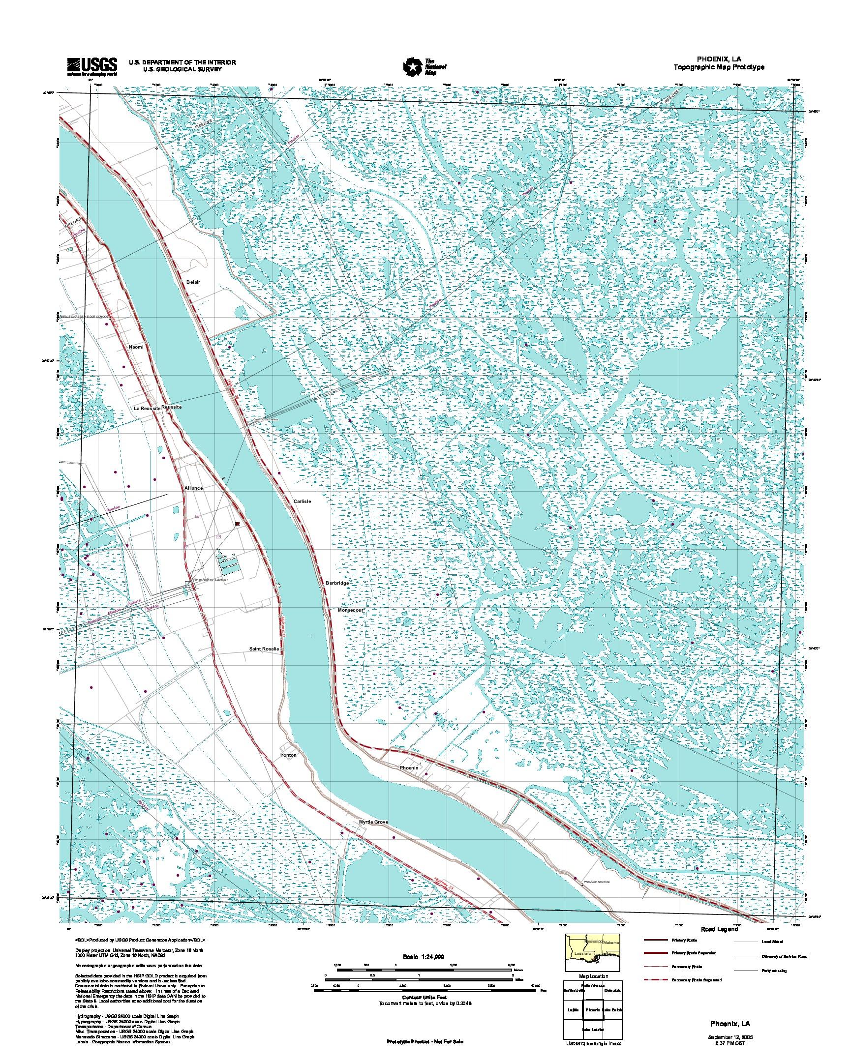 Phoenix, Topographic Map Prototype, Louisiana, United States, September 12, 2005