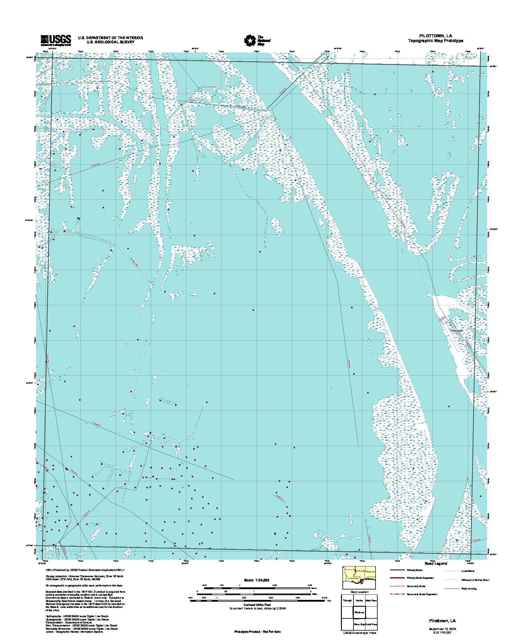 Prototipo de Mapa Topográfico de Pilottown, Luisiana, Estados Unidos, Septiembre 12, 2005