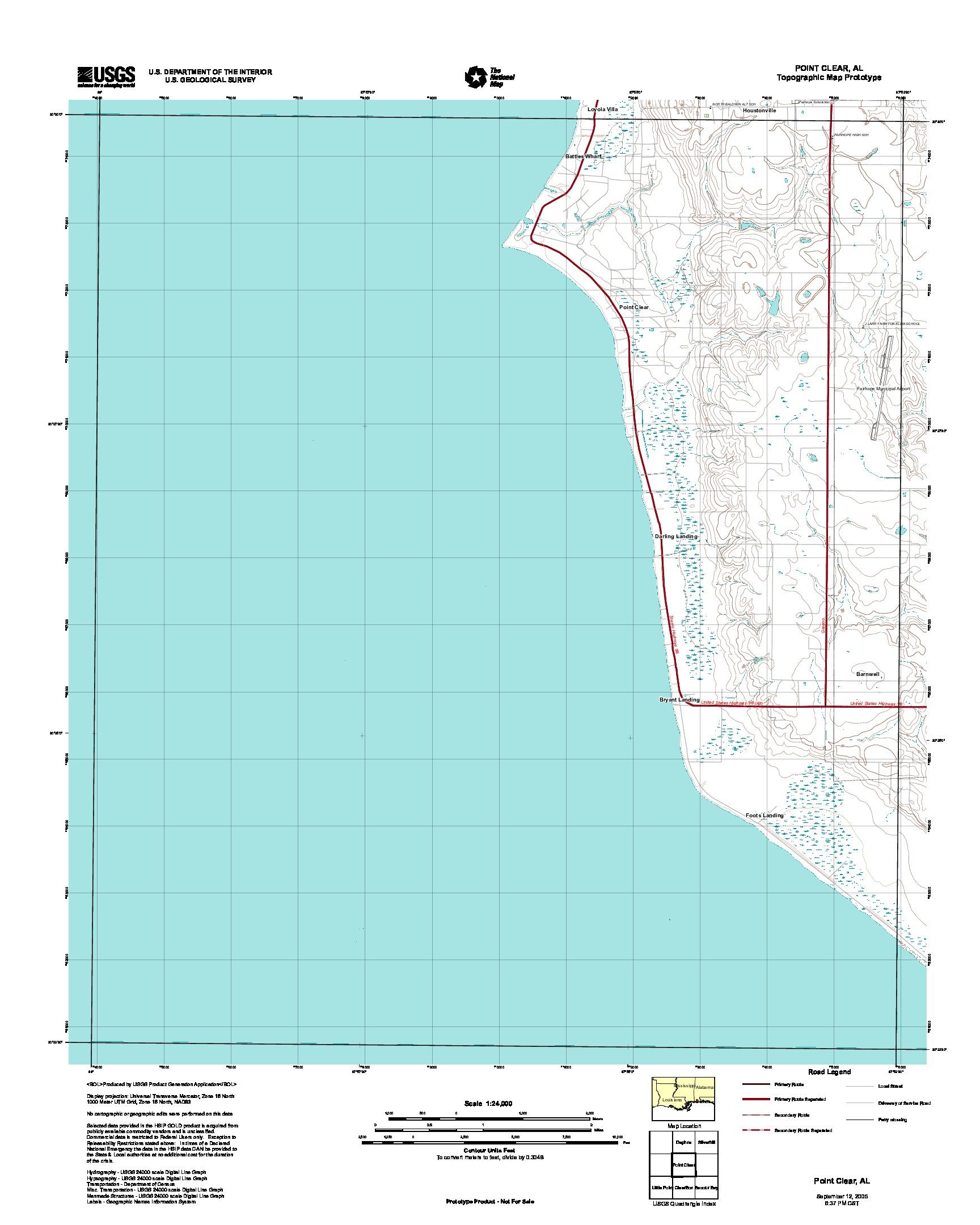 Prototipo de Mapa Topográfico de Point Clear, Alabama, Estados Unidos, Septiembre 12, 2005