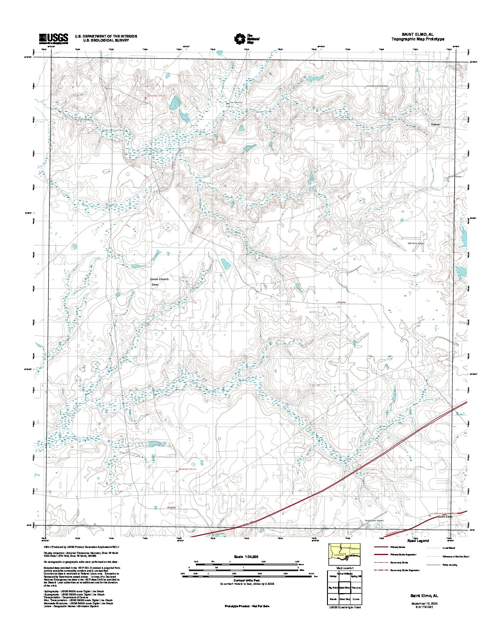 Prototipo de Mapa Topográfico de Saint Elmo, Alabama, Estados Unidos, Septiembre 12, 2005