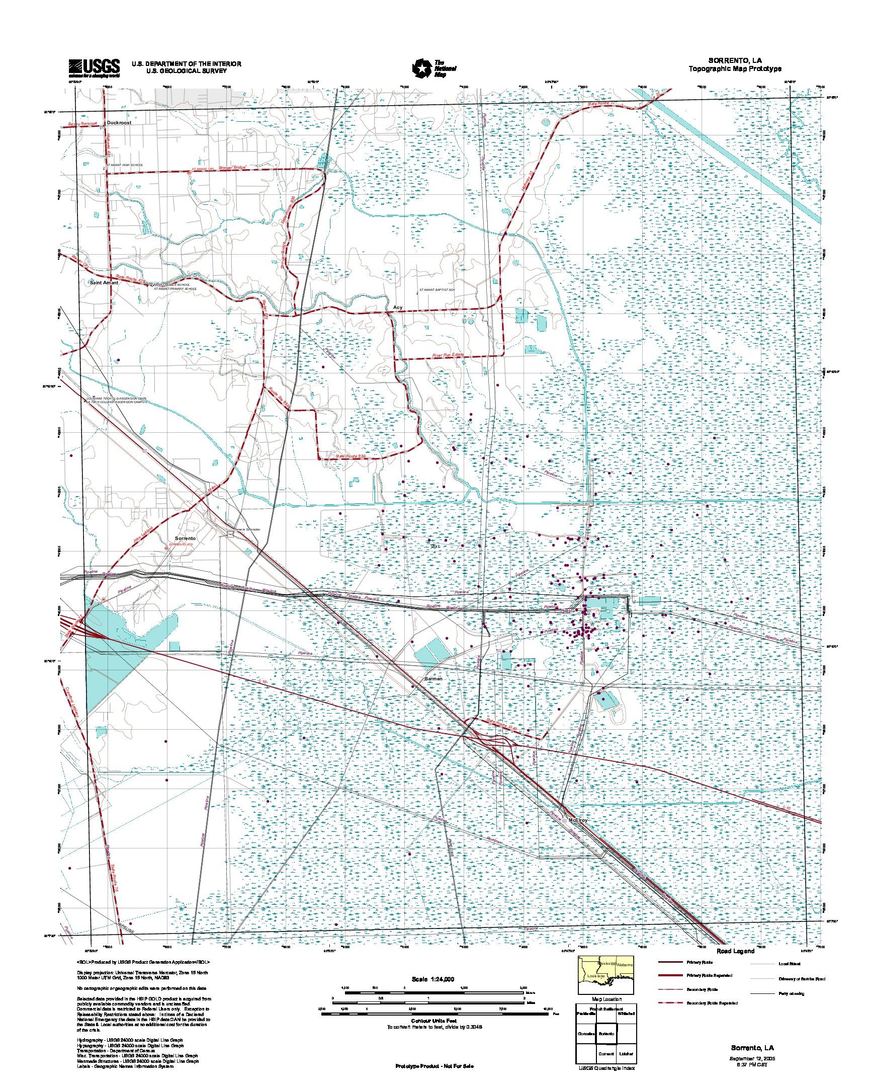 Prototipo de Mapa Topográfico de Sorrento, Luisiana, Estados Unidos, Septiembre 12, 2005