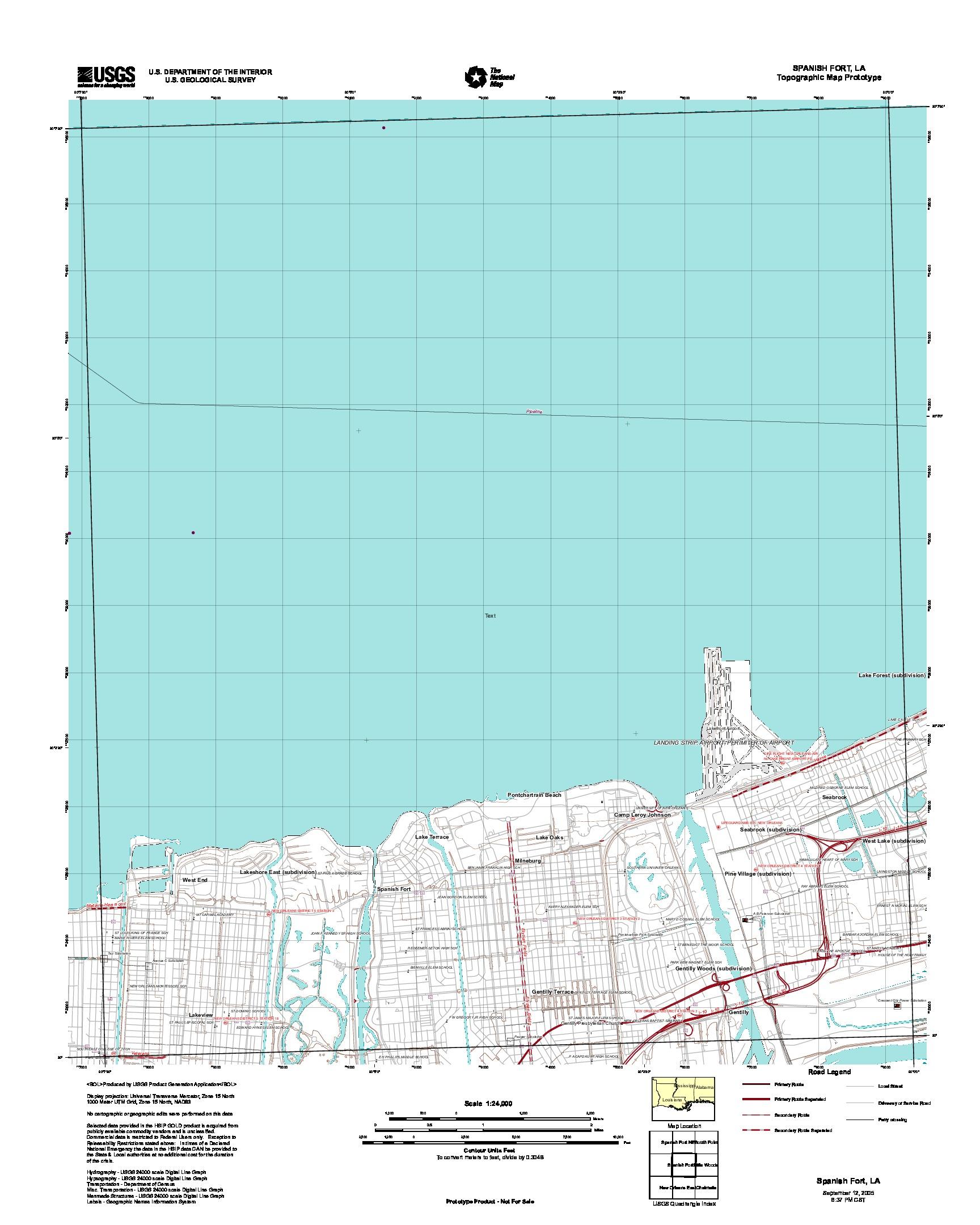 Spanish Fort, Topographic Map Prototype, Louisiana, United States, September 12, 2005