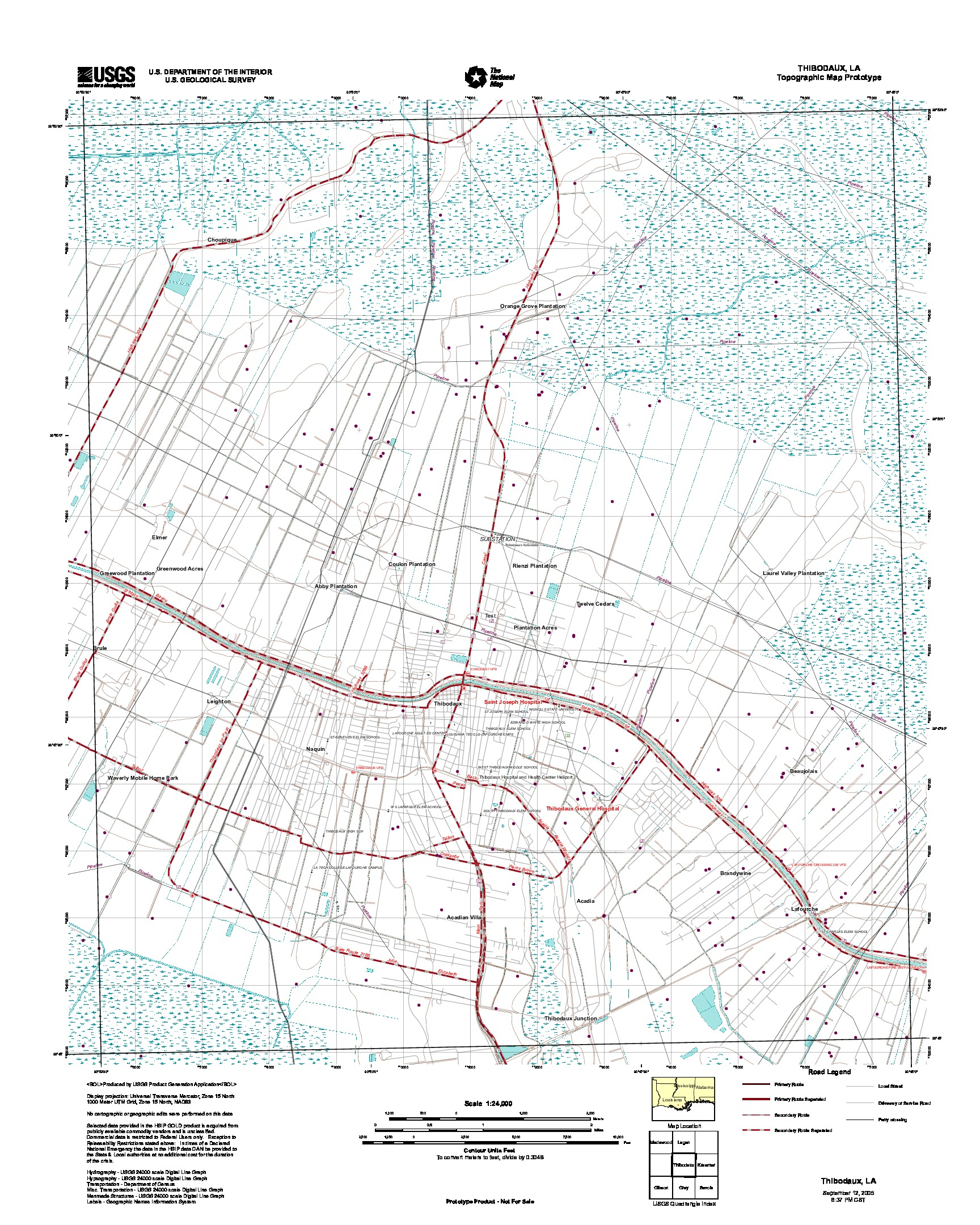 Thibodaux, Topographic Map Prototype, Louisiana, United States, September 12, 2005