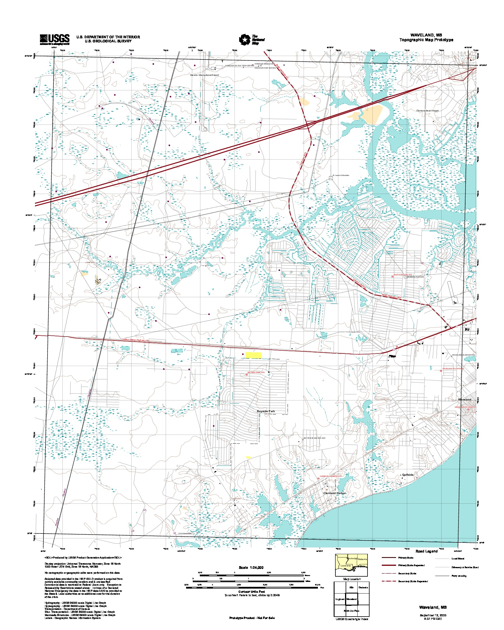Waveland, Topographic Map Prototype, Mississippi, United States, September 12, 2005