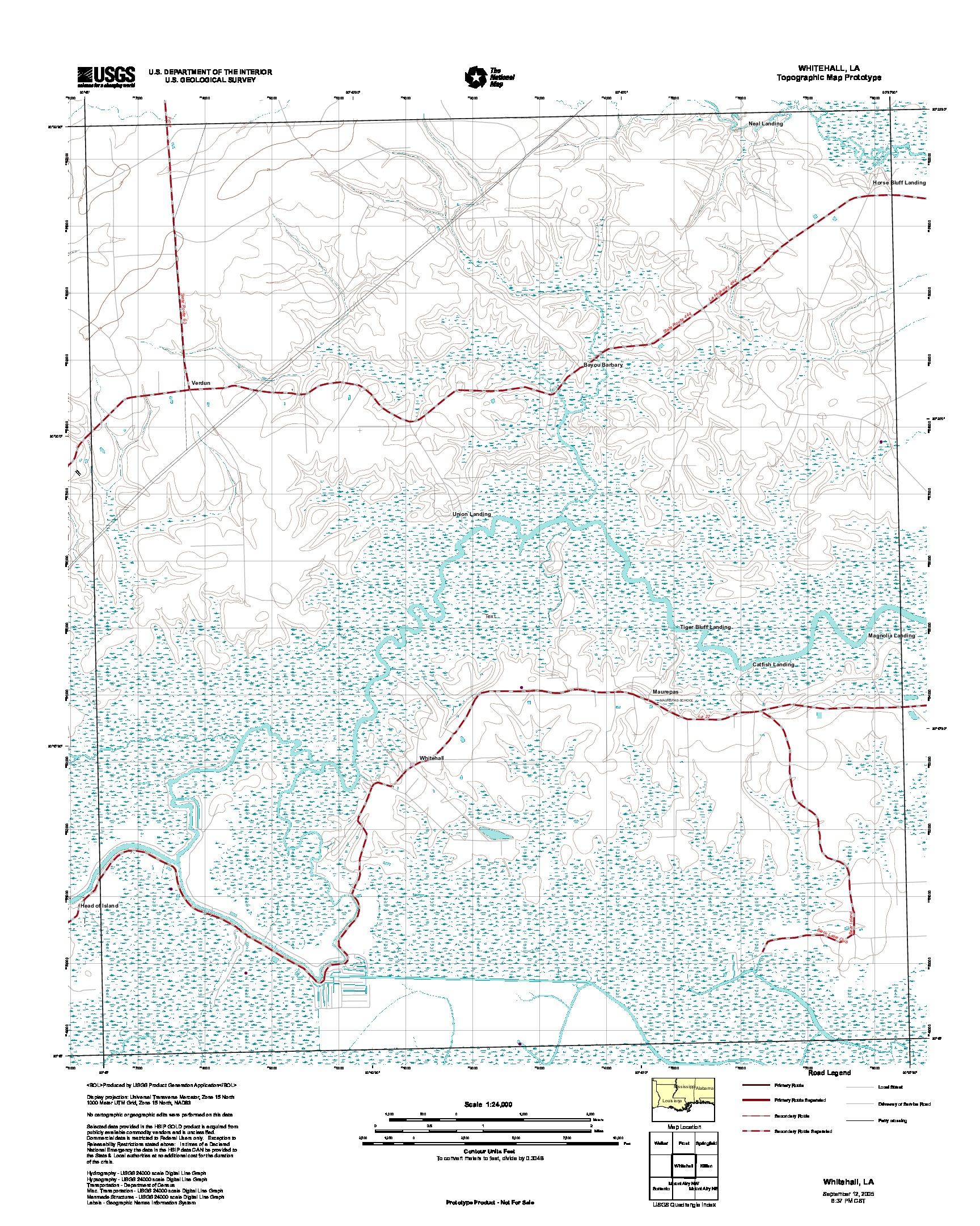 Prototipo de Mapa Topográfico de Whitehall, Luisiana, Estados Unidos, Septiembre 12, 2005
