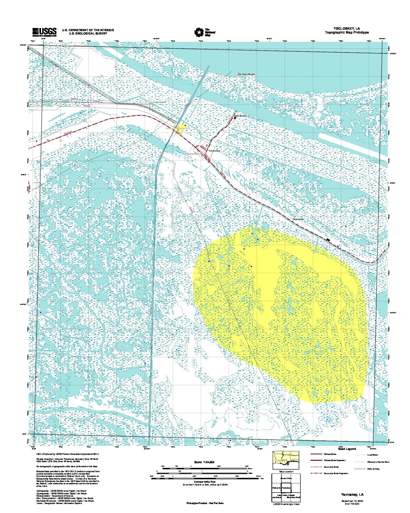 Prototipo de Mapa Topográfico de Yscloskey, Luisiana, Estados Unidos, Septiembre 12, 2005