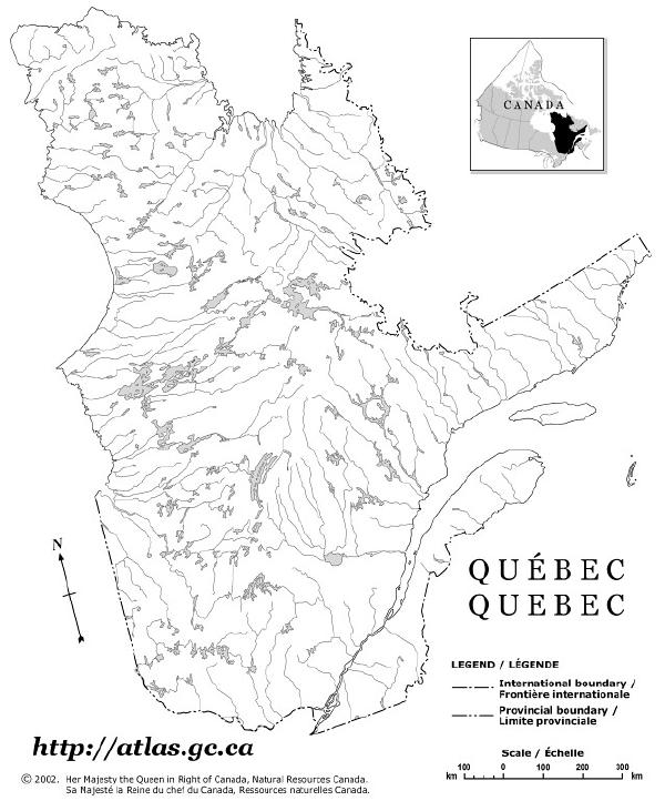 Quebec Outline Map