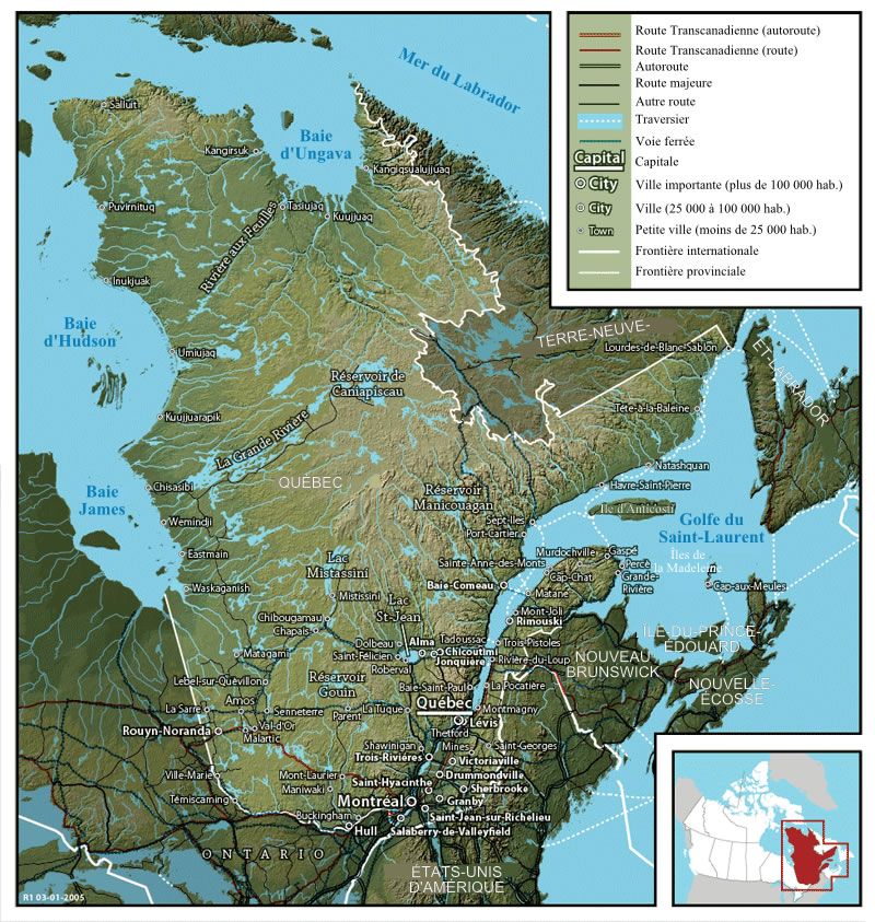Quebec Shaded Relief Map
