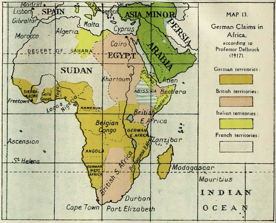 Reclamaciones territoriales alemanas en África 1917