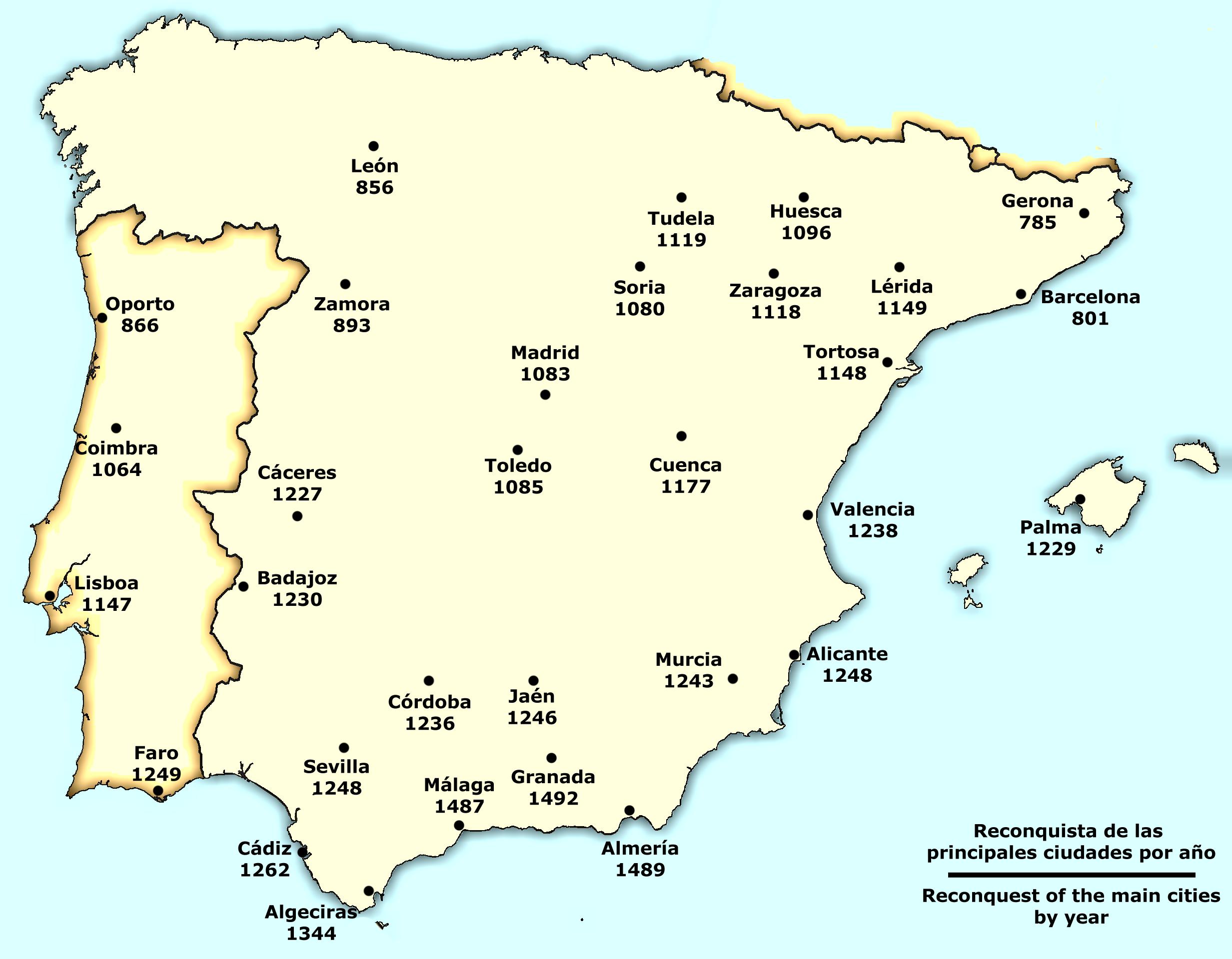 Reconquista de las principales ciudades de la Península Ibérica 801-1492
