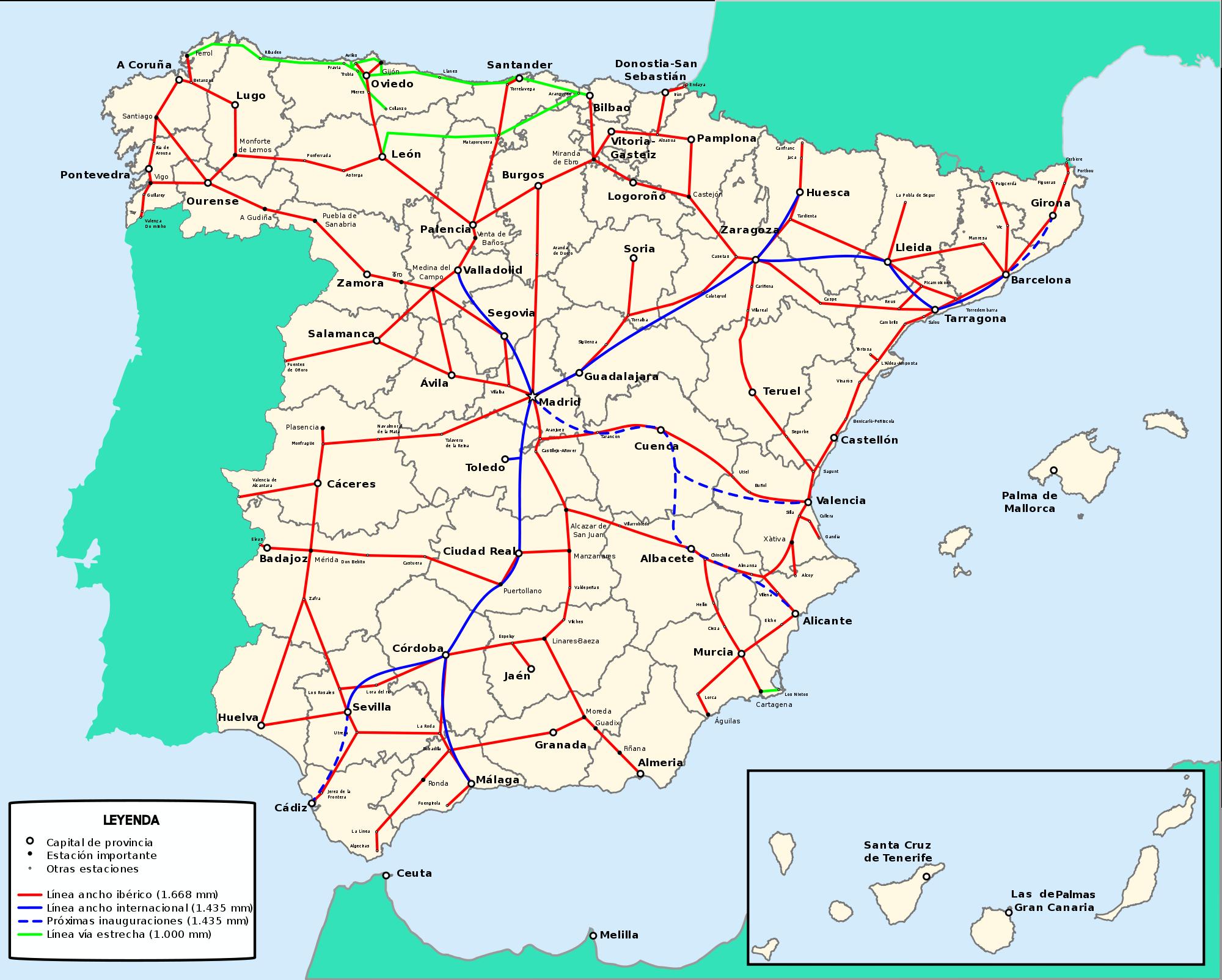 Red de ferrocarriles de España 2009