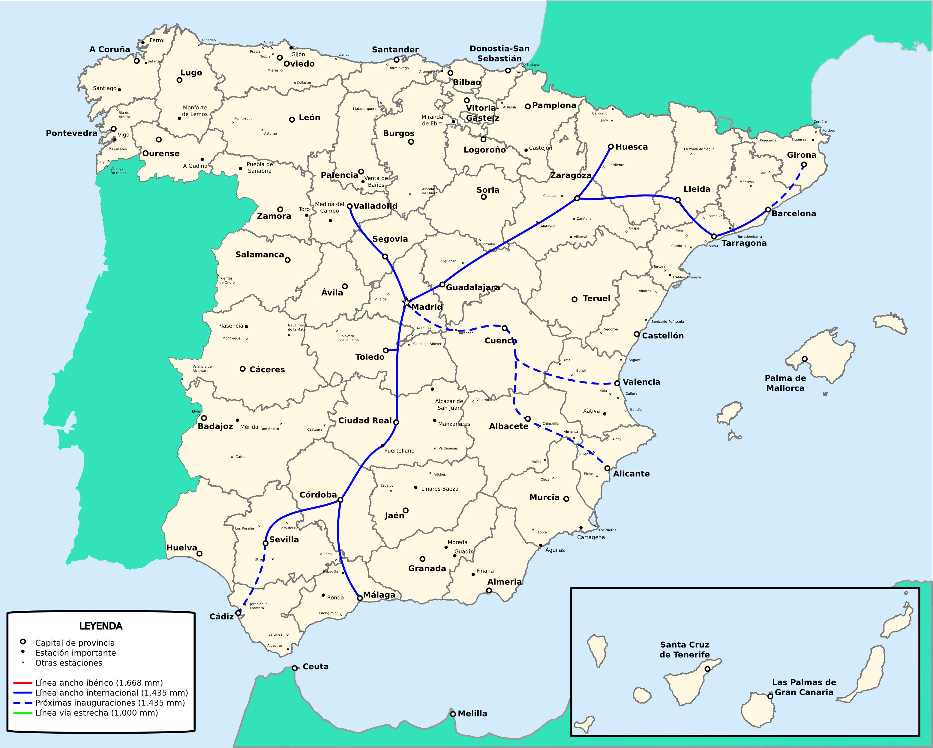 Red de ferrocarriles de España de ancho europeo 2009