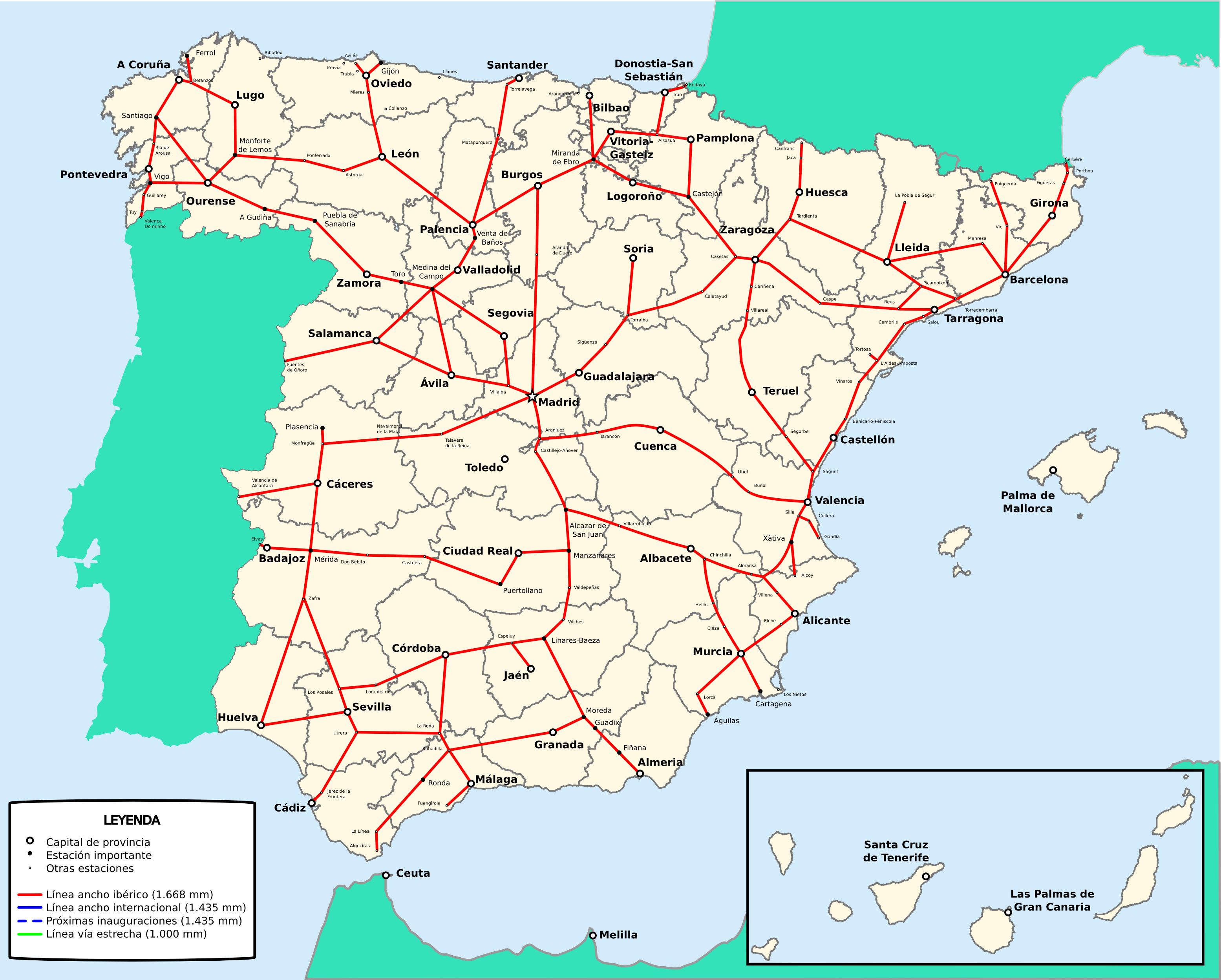 Red de ferrocarriles de España de ancho ibérico 2009