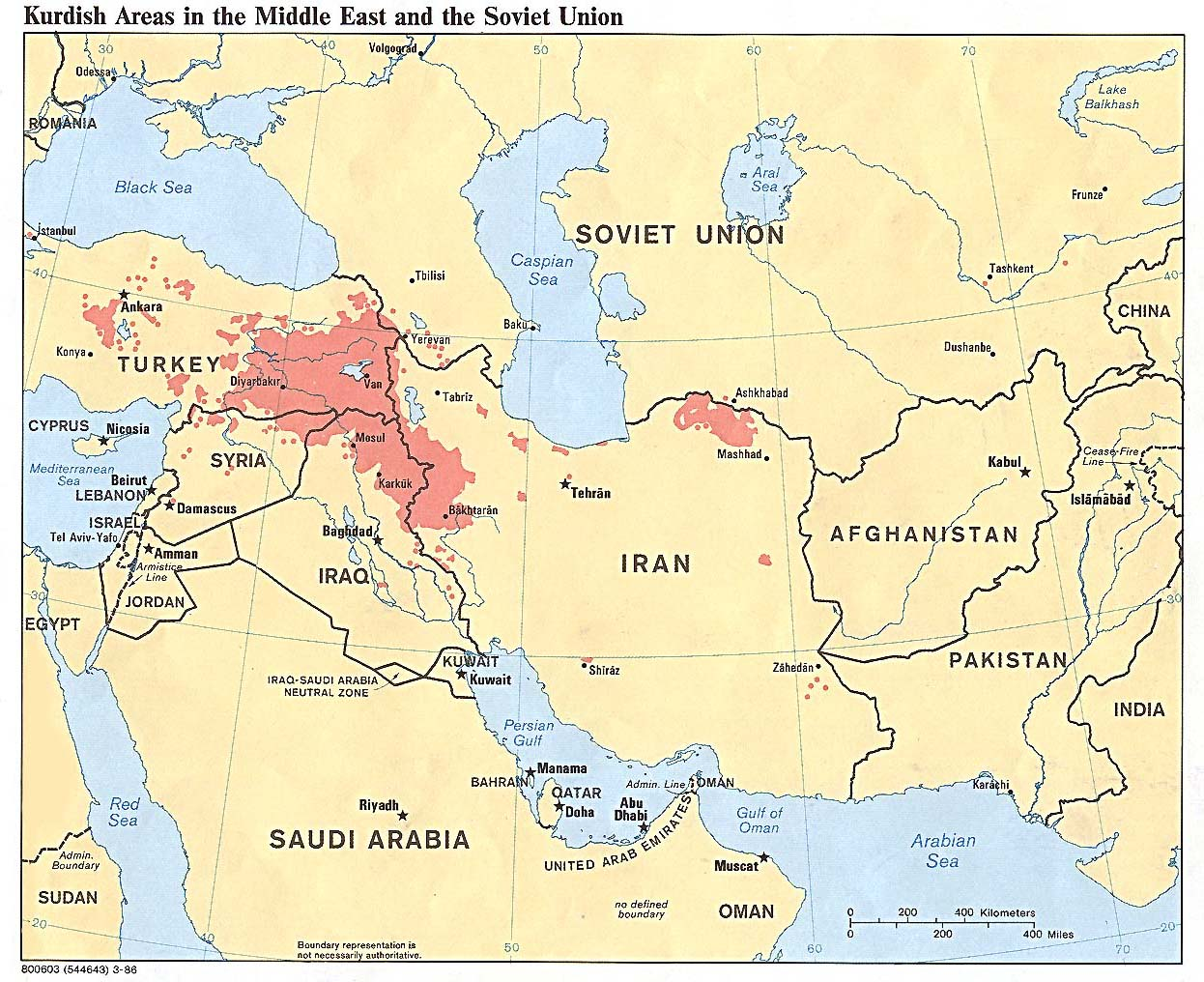 Map of Kurdish Areas in the Middle East