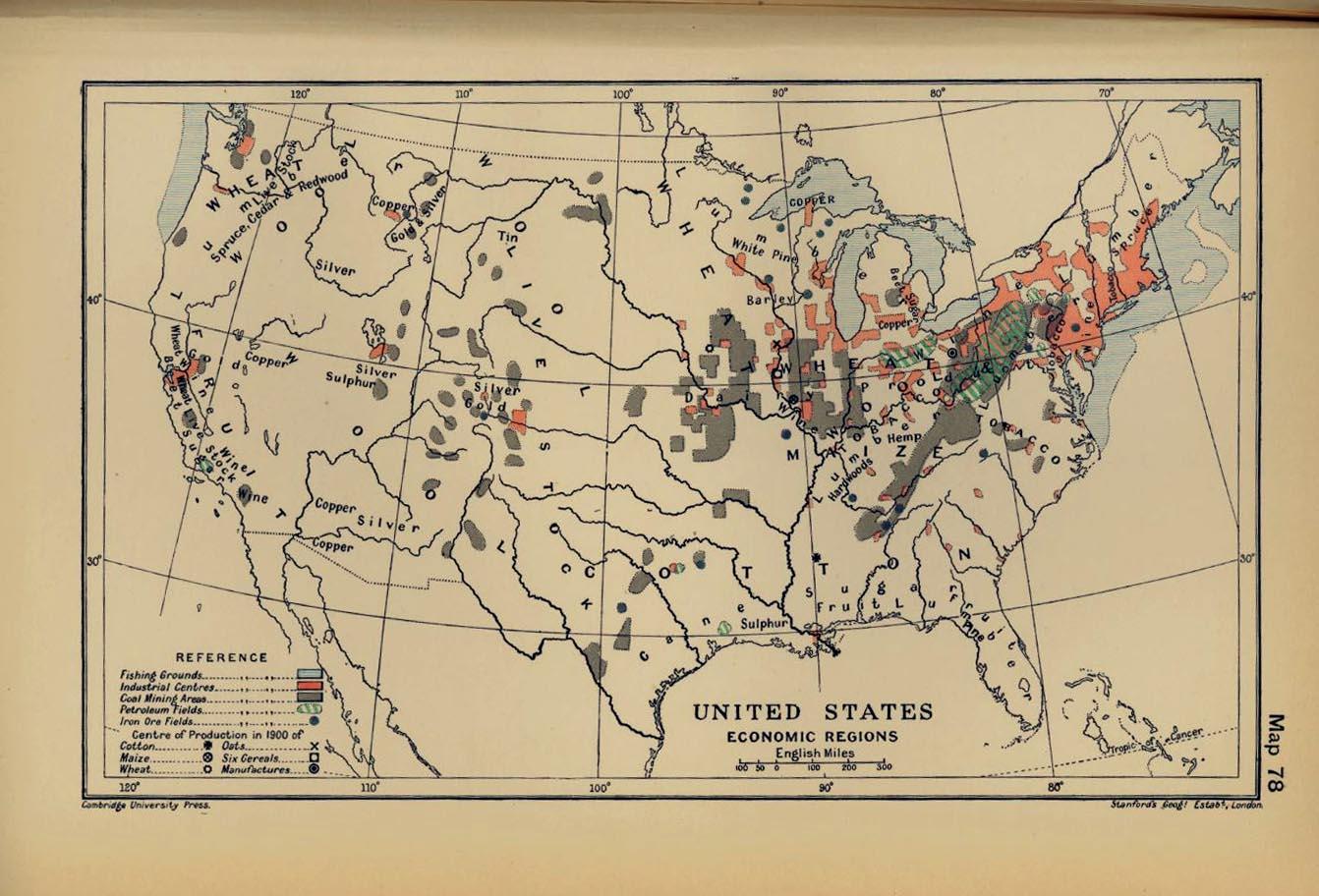 Regiones económicas de Estados Unidos 1900