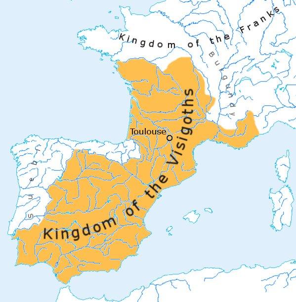 Reino visigodo bajo el mando de Alarico II en 500