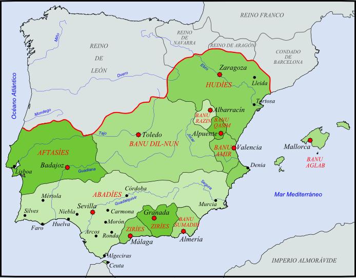 Reinos de Taifas en el año 1080